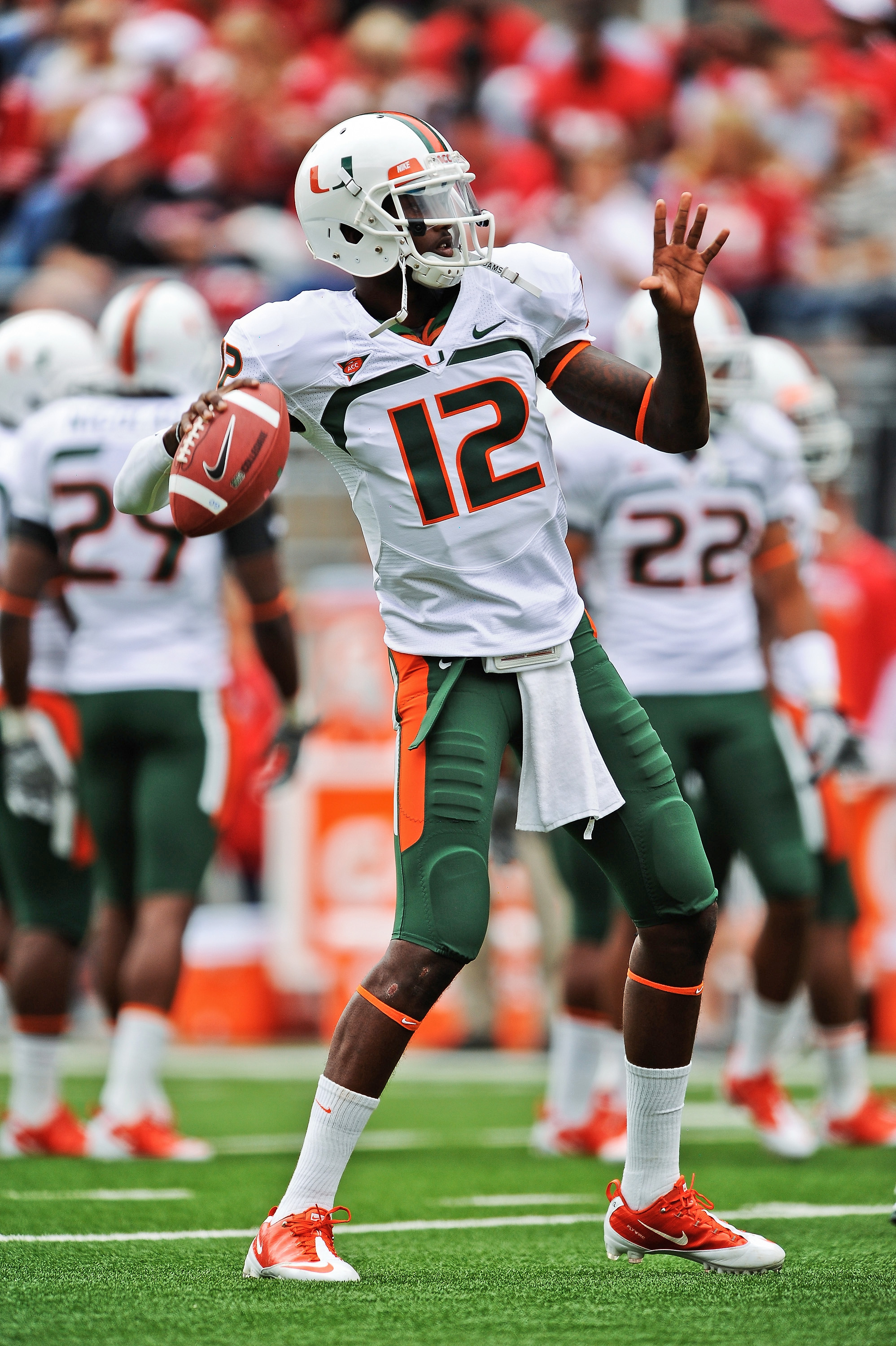 COLUMBUS, OH - SEPTEMBER 11:  Quarterback Jacory Harris #12 of the Miami Hurricanes warms up before a game against the Ohio State Buckeyes at Ohio Stadium on September 11, 2010 in Columbus, Ohio.  (Photo by Jamie Sabau/Getty Images)