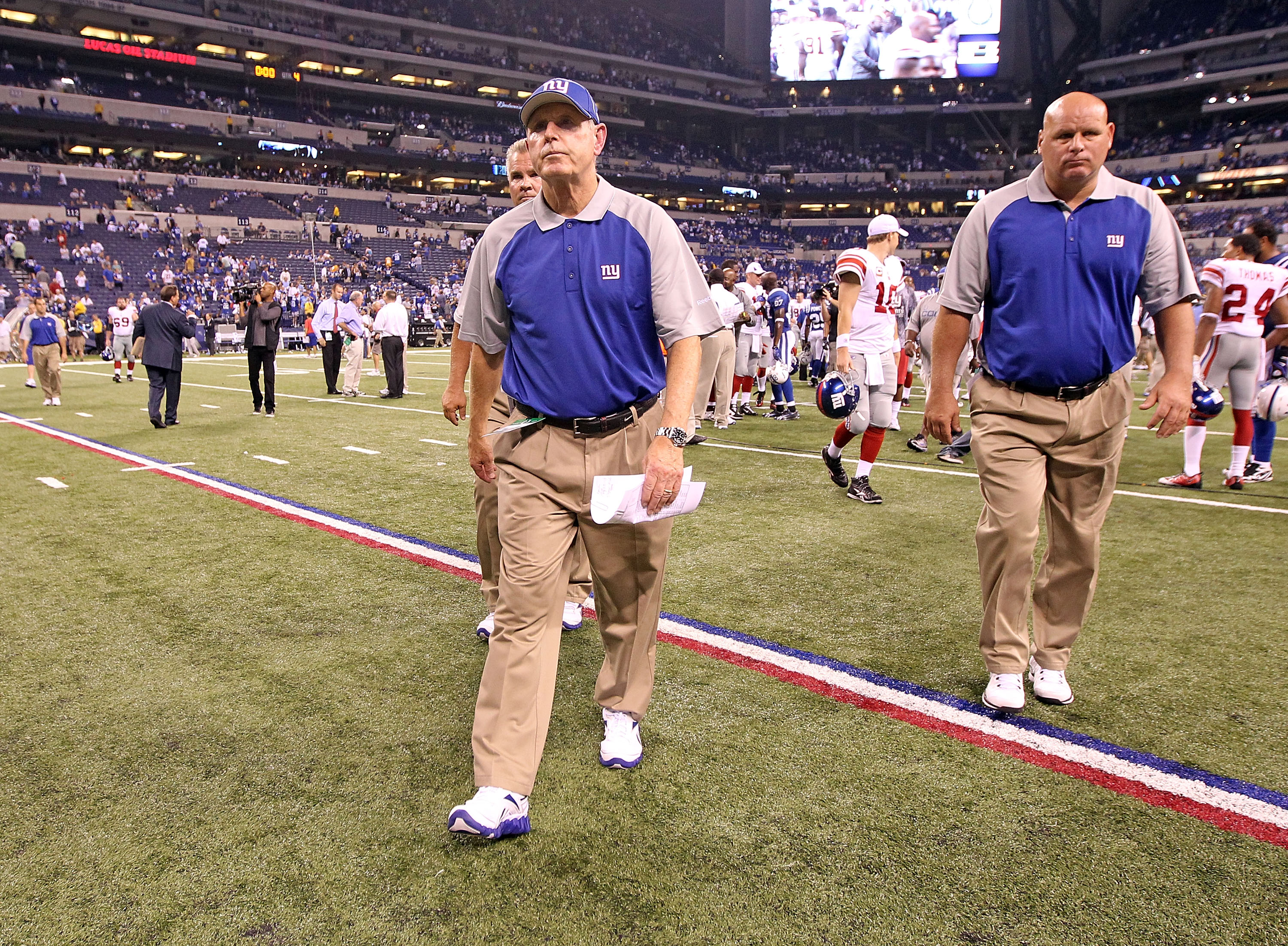 INDIANAPOLIS - SEPTEMBER 19:  Tom Coughlin the Head Coach of the New York Giants walks off of the field following the NFL game against the Indianapolis Colts at Lucas Oil Stadium on September 19, 2010 in Indianapolis, Indiana.  (Photo by Andy Lyons/Getty