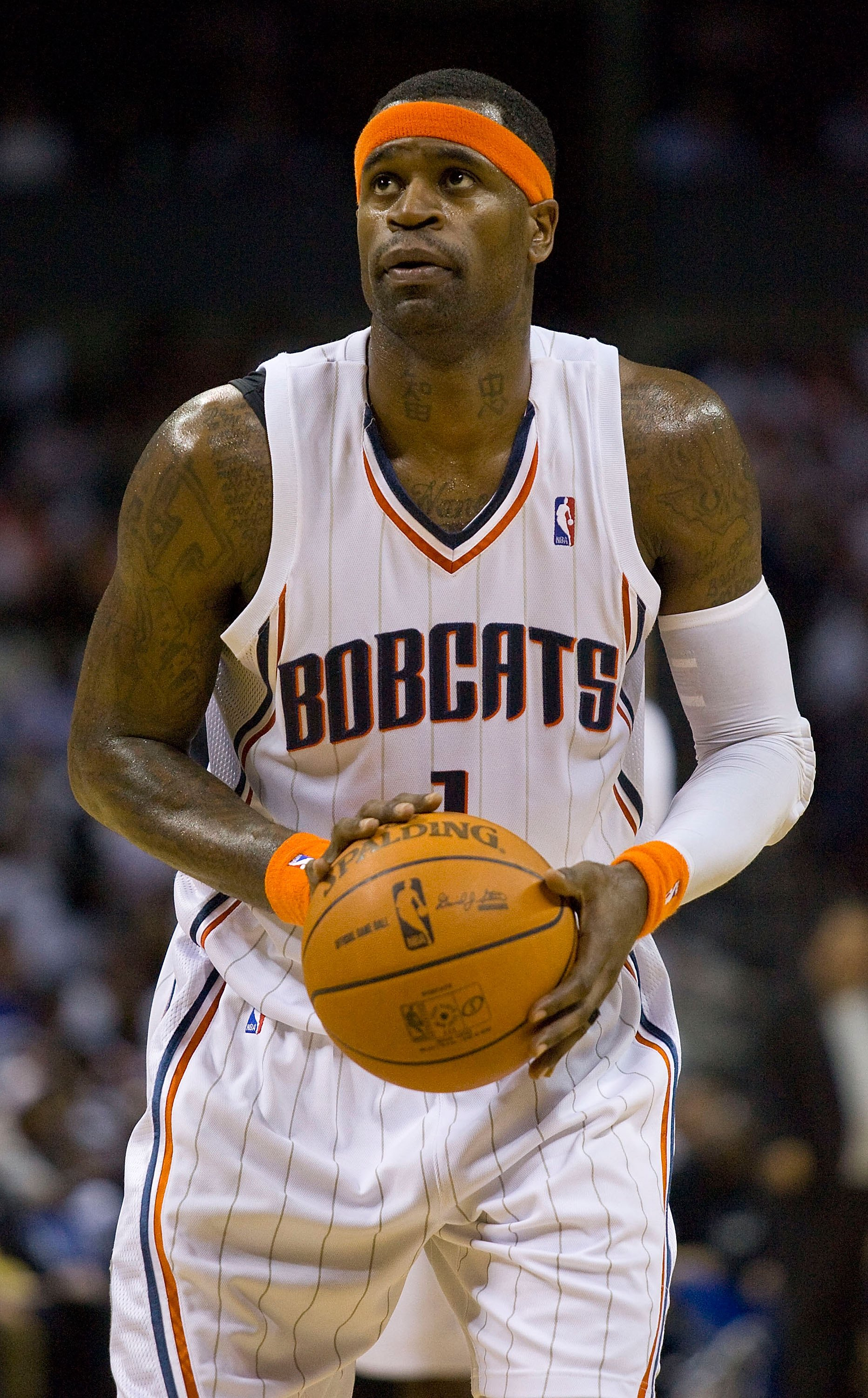 CHARLOTTE, NC - APRIL 26: Stephen Jackson #1 of the Charlotte Bobcats shoots a free throw against the Orlando Magic at Time Warner Cable Arena on April 26, 2010 in Charlotte, North Carolina.  The Magic defeated the Bobcats 99-90 to complete the four game