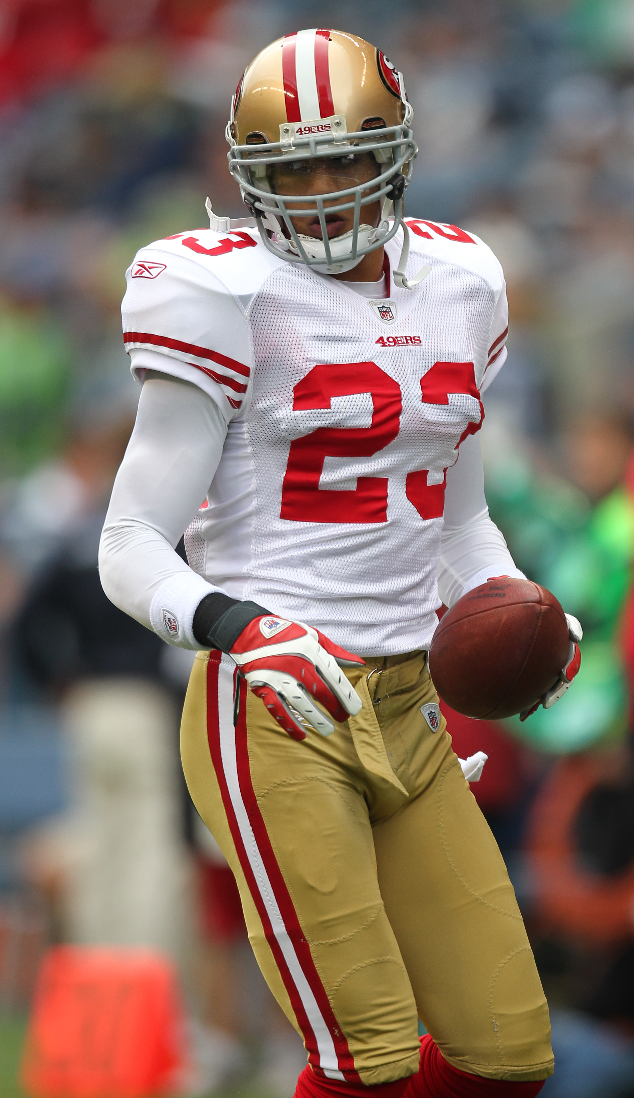 SEATTLE - SEPTEMBER 12:  Safety Taylor Mays #23 of the San Francisco 49ers warms up prior to the NFL season opener against the Seattle Seahawks at Qwest Field on September 12, 2010 in Seattle, Washington. (Photo by Otto Greule Jr/Getty Images)