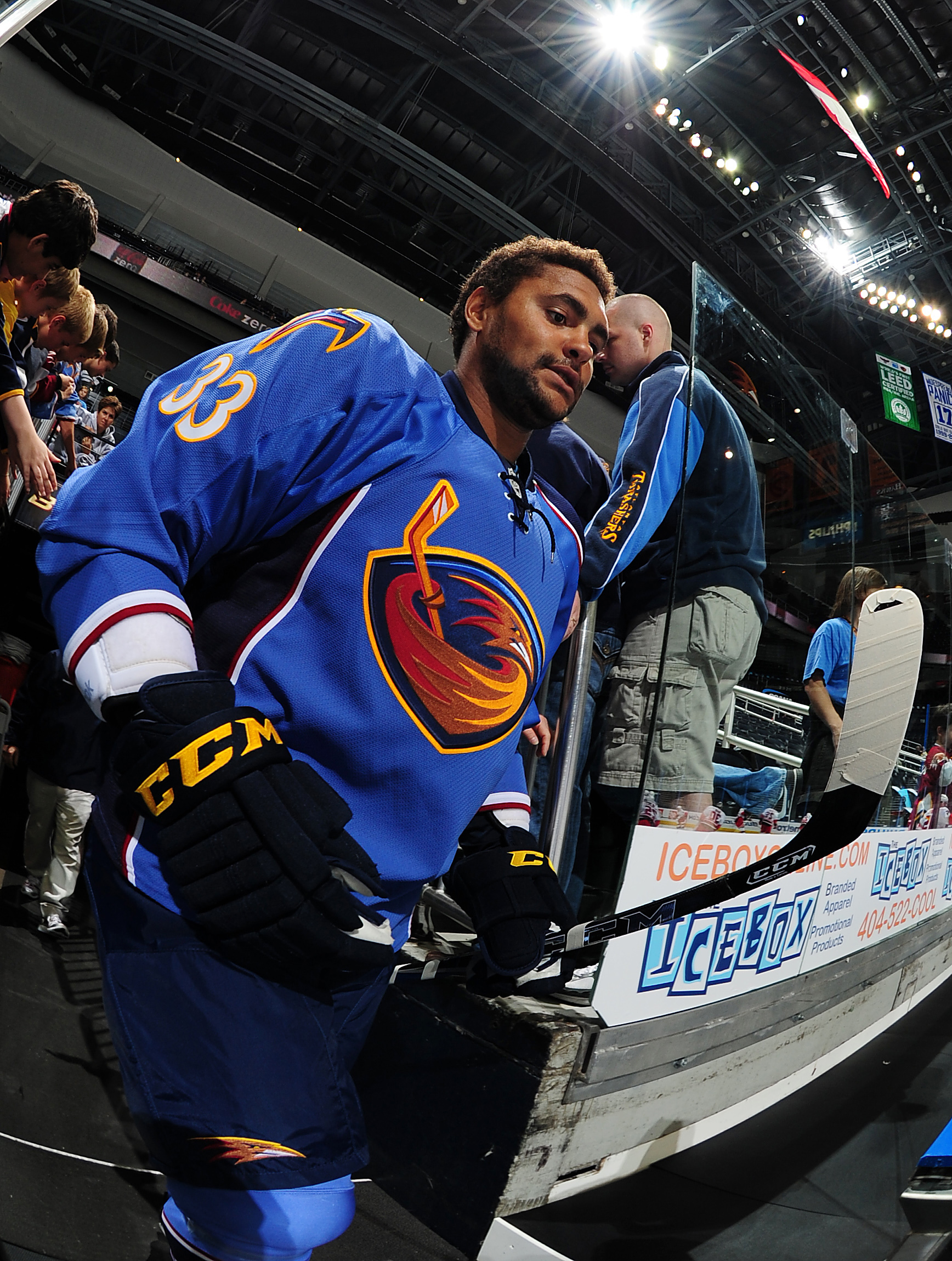 ATLANTA - SEPTEMBER 25: Dustin Byfuglien #33 of the Atlanta Thrashers heads to the ice to play against the Carolina Hurricanes at Philips Arena on September 25, 2010 in Atlanta, Georgia. (Photo by Scott Cunningham/Getty Images)