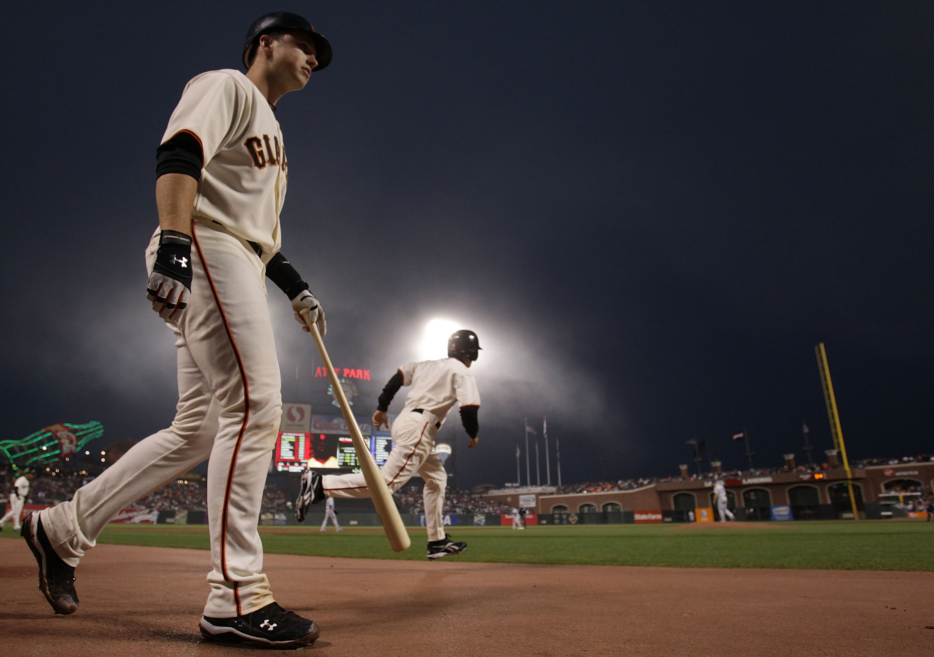 SAN FRANCISCO - SEPTEMBER 16: Buster Posey #28 of the San Francisco Giants walks to the plate against the Los Angeles Dodgers during a Major League Baseball game at AT&T Park on September 16, 2010 in San Francisco, California. (Photo by Jed Jacobsohn/Gett