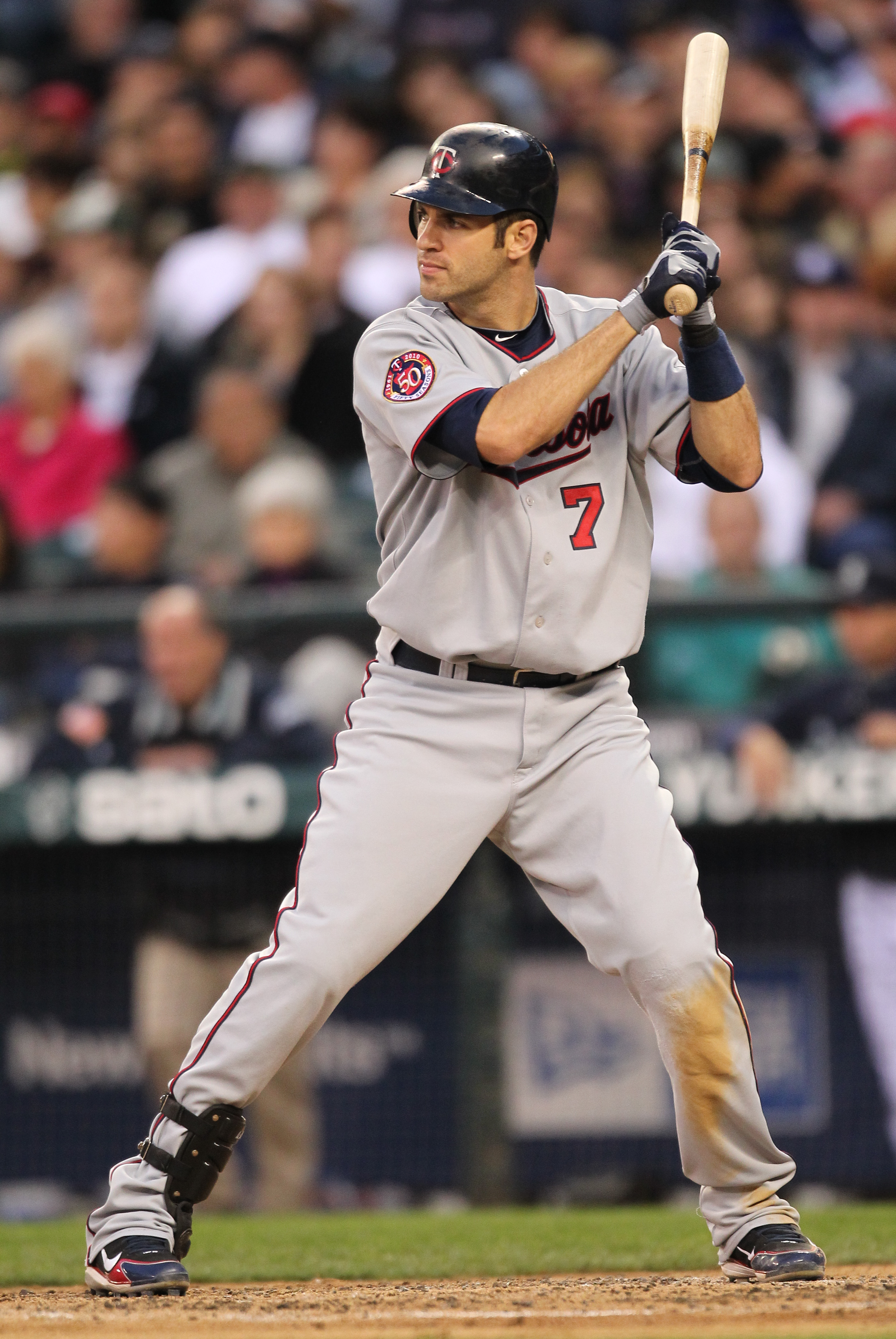SEATTLE - AUGUST 27:  Joe Mauer #7 of the Minnesota Twins bats against the Seattle Mariners at Safeco Field on August 27, 2010 in Seattle, Washington. The Twins won 6-3. (Photo by Otto Greule Jr/Getty Images)