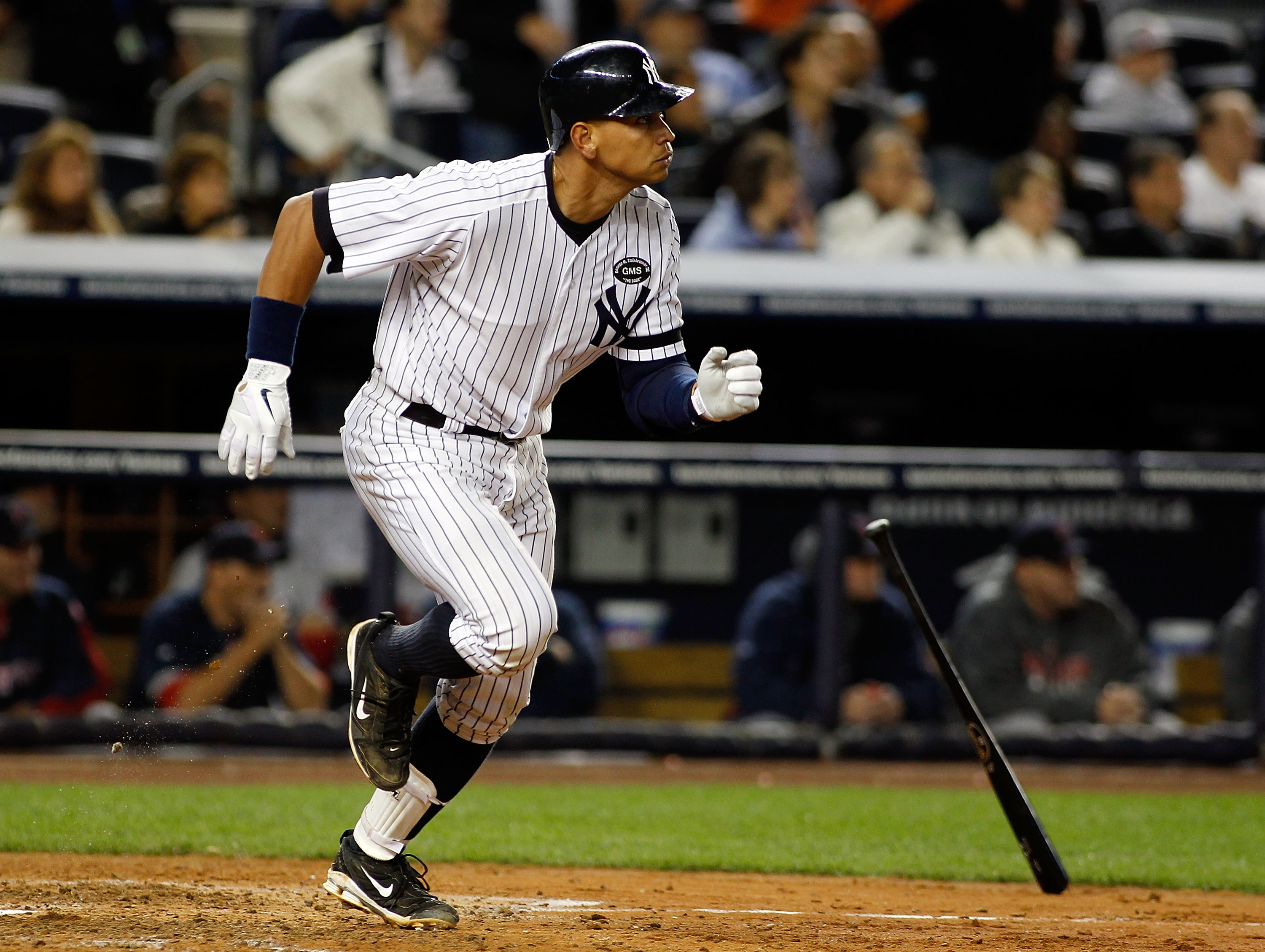 NEW YORK - SEPTEMBER 26:  Alex Rodriguez #13 of the New York Yankees hits a two run homerun in the seventh-inning against the Boston Red Sox on September 26, 2010 at Yankee Stadium in the Bronx borough of New York City.  (Photo by Mike Stobe/Getty Images)