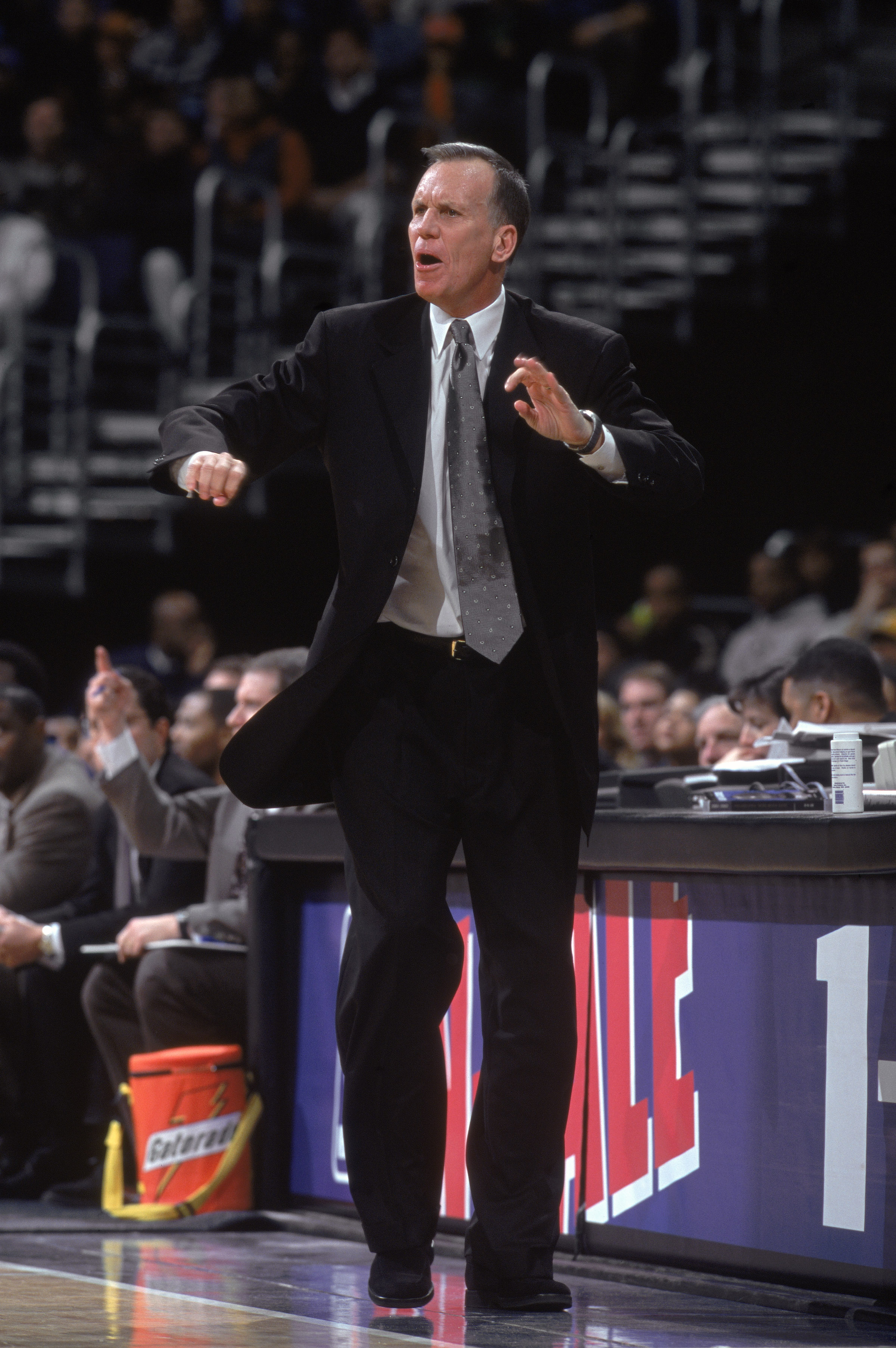22 Jan 2002:  Head coach Doug Collins of the Washington Wizards watches the NBA game against the Philadelphia 76ers at the MCI Center in Washington, DC. The 76ers defeated the Wizards 91-84.    NOTE TO USER:  User expressly acknowledges and agrees that, b