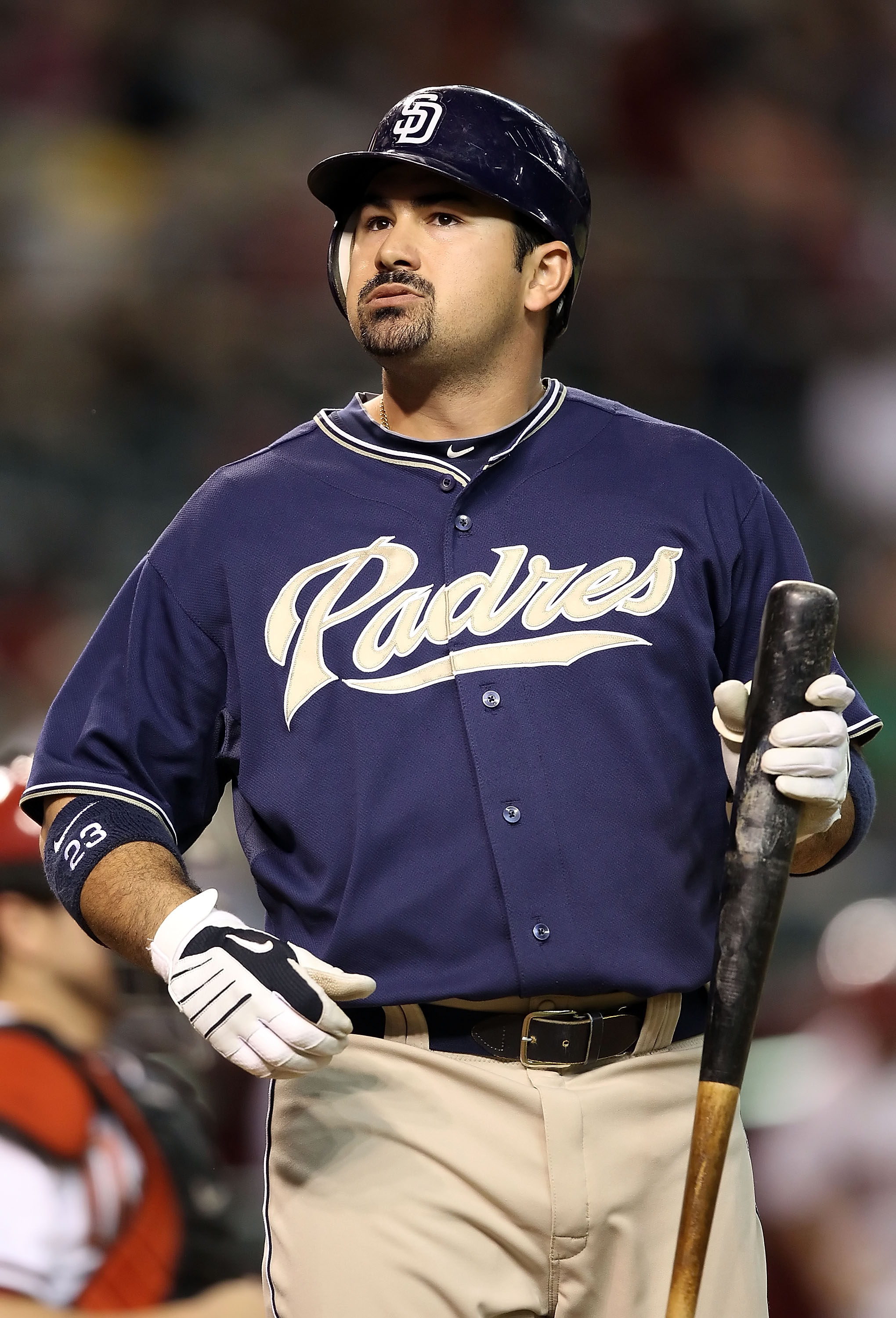 PHOENIX - AUGUST 30:  Adrian Gonzalez #23 of the San Diego Padres at bat during the Major League Baseball game agianst the Arizona Diamondbacks at Chase Field on August 30, 2010 in Phoenix, Arizona.  (Photo by Christian Petersen/Getty Images)