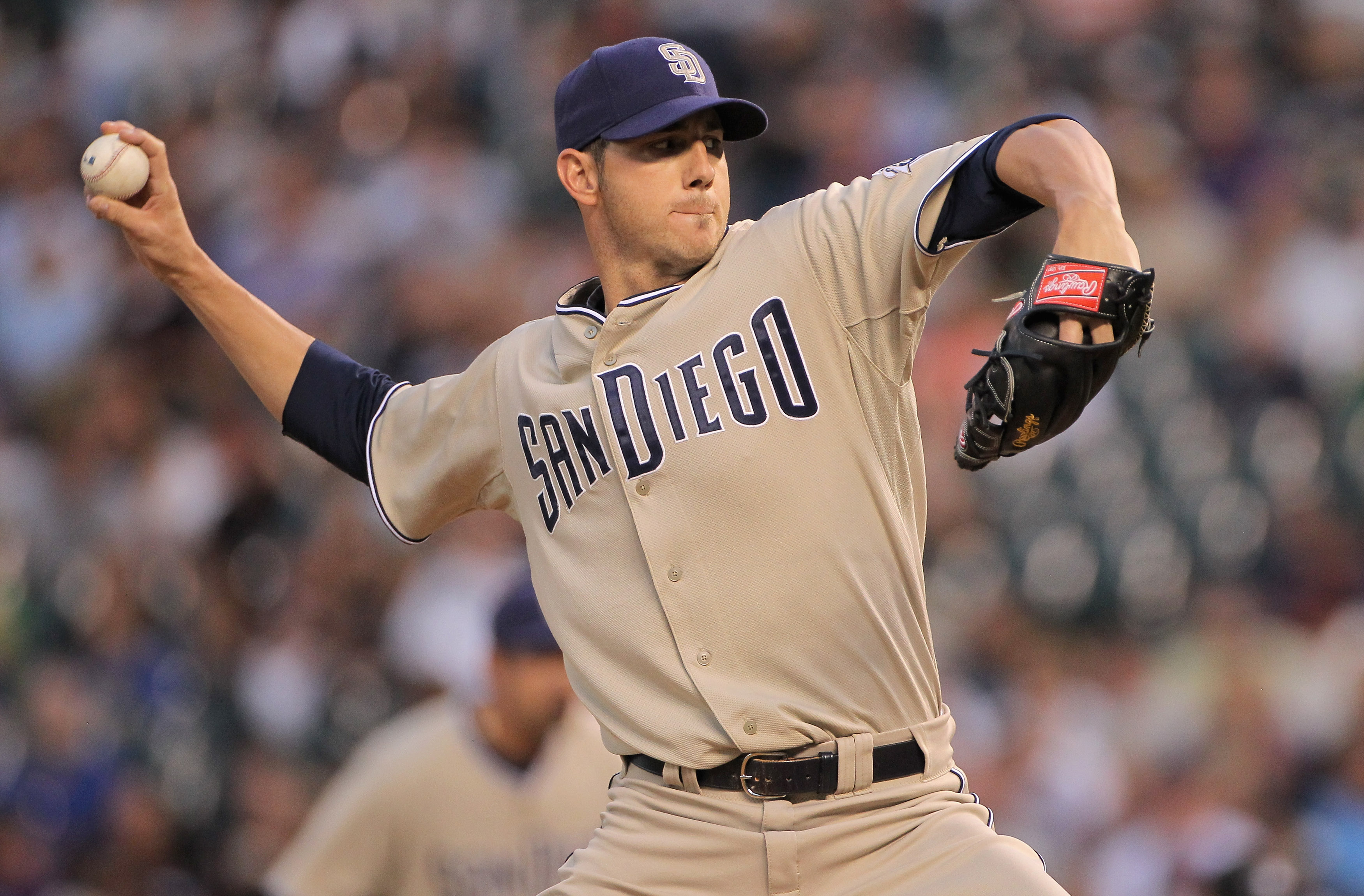 DENVER - SEPTEMBER 14:  Starting pitcher Jon Garland #27 of the San Diego Padres delivers against the Colorado Rockies at Coors Field on September 14, 2010 in Denver, Colorado.  (Photo by Doug Pensinger/Getty Images)