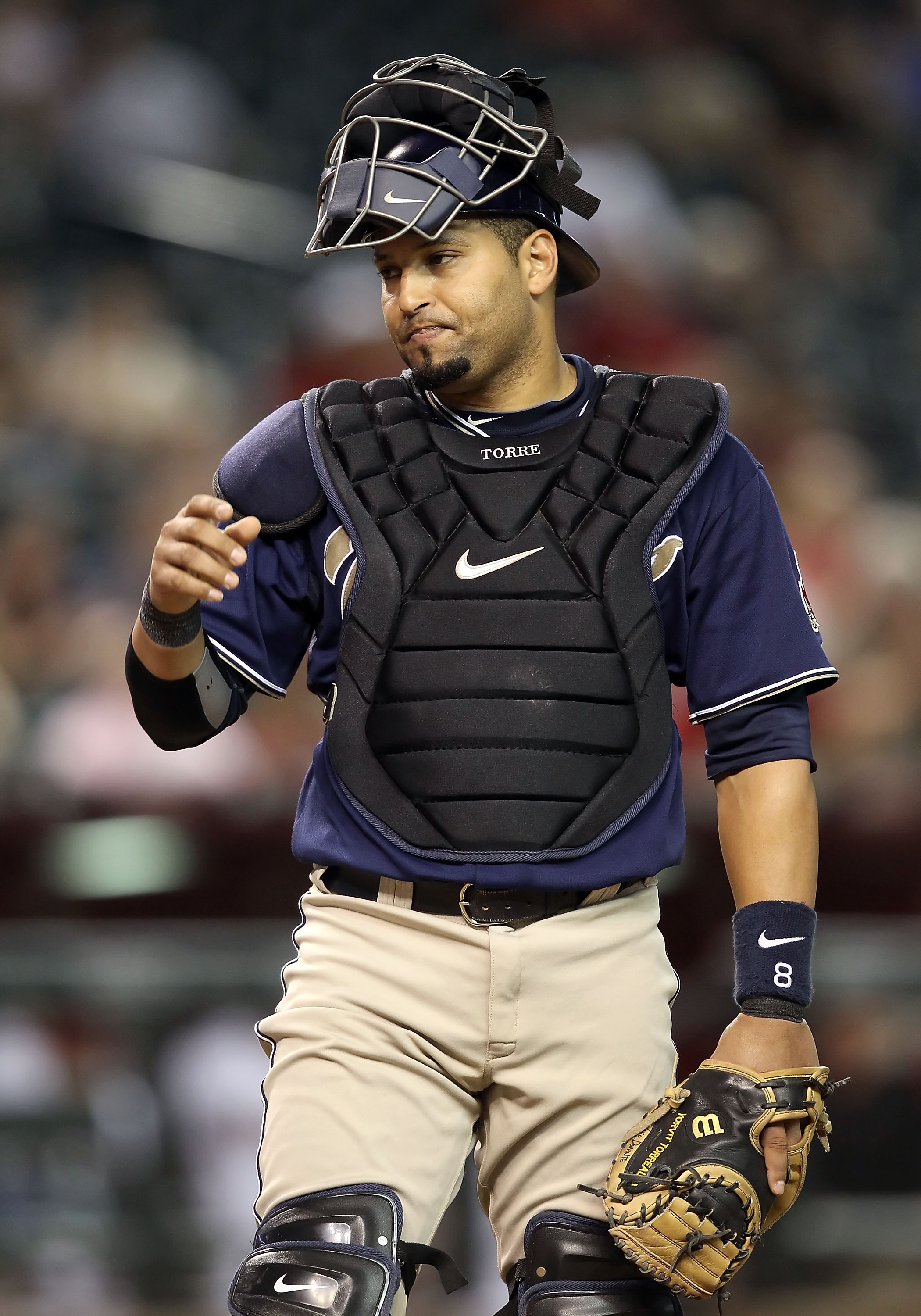PHOENIX - AUGUST 30:  Catcher Yorvit Torrealba #8 of the San Diego Padres in action during the Major League Baseball game against the Arizona Diamondbacks at Chase Field on August 30, 2010 in Phoenix, Arizona. The Diamondbacks defeated the Padres 7-2.  (P