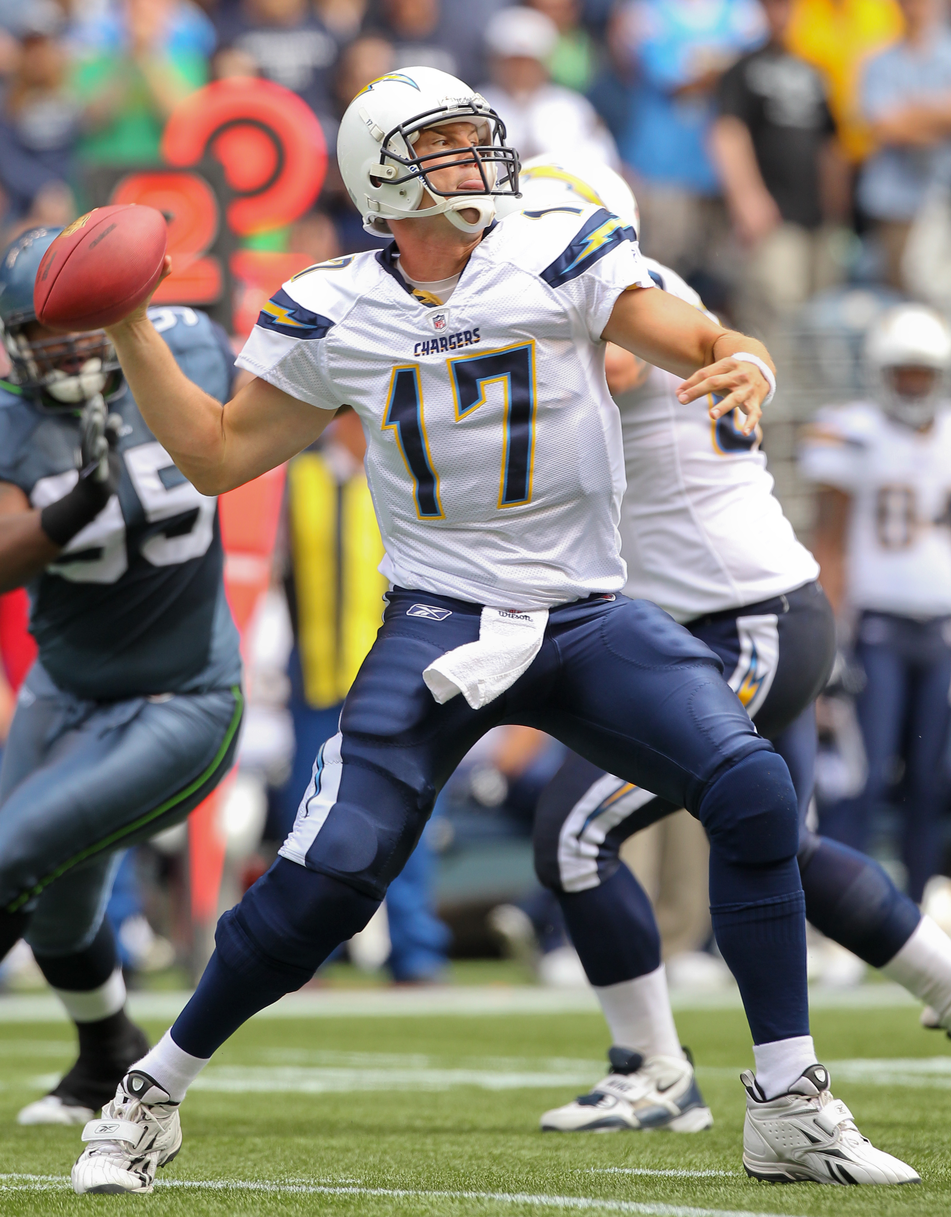 SEATTLE - SEPTEMBER 26:  Quarterback Philip Rivers #17 of the San Diego Chargers passes against the Seattle Seahawks at Qwest Field on September 26, 2010 in Seattle, Washington. (Photo by Otto Greule Jr/Getty Images)