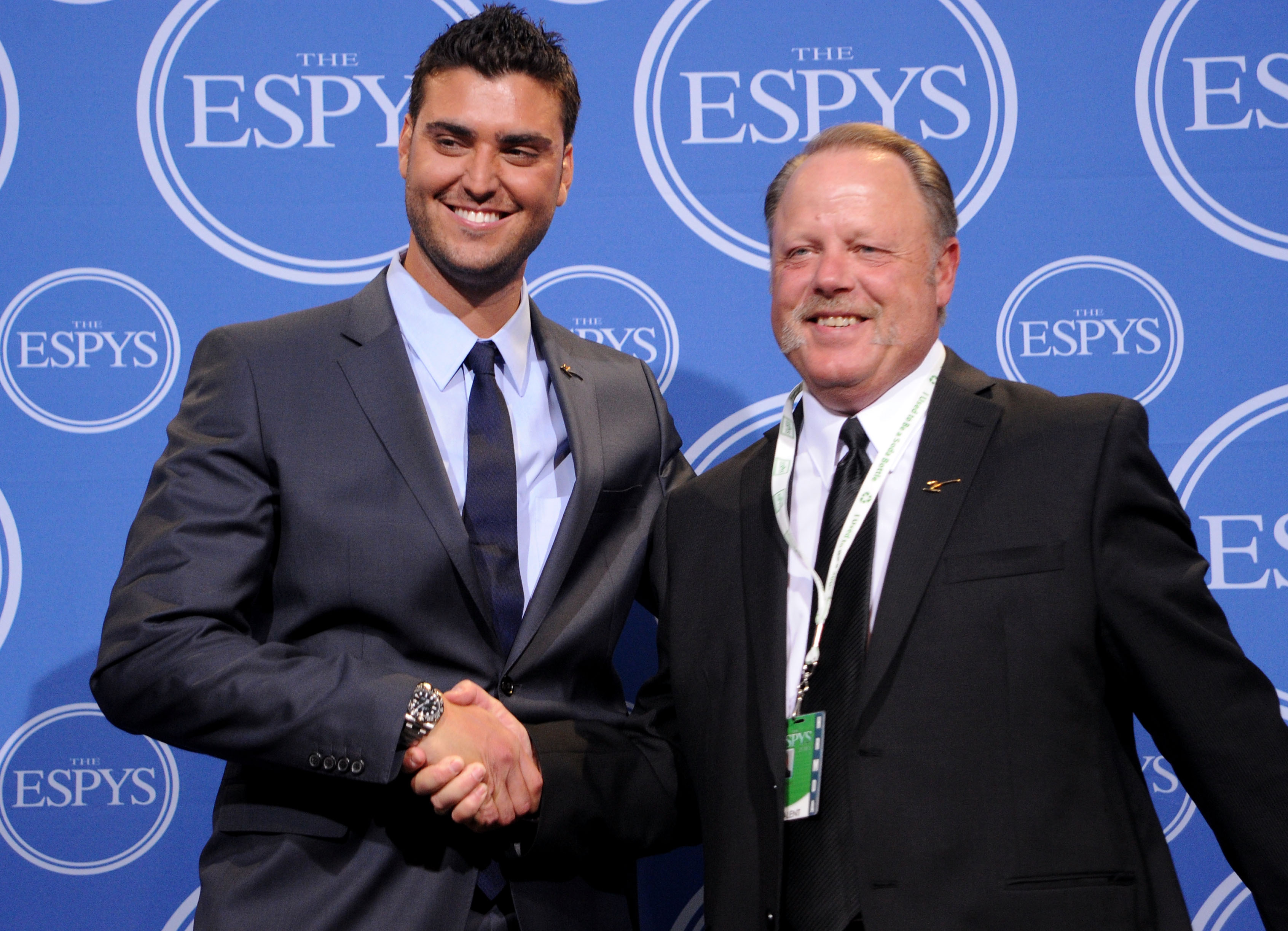 LOS ANGELES, CA - JULY 14:  MLB umpire Jim Joyce and pitcher Armando Gallaraga shake hands backstage during the 2010 ESPY Awards at Nokia Theatre L.A. Live on July 14, 2010 in Los Angeles, California.  (Photo by Jason Merritt/Getty Images)