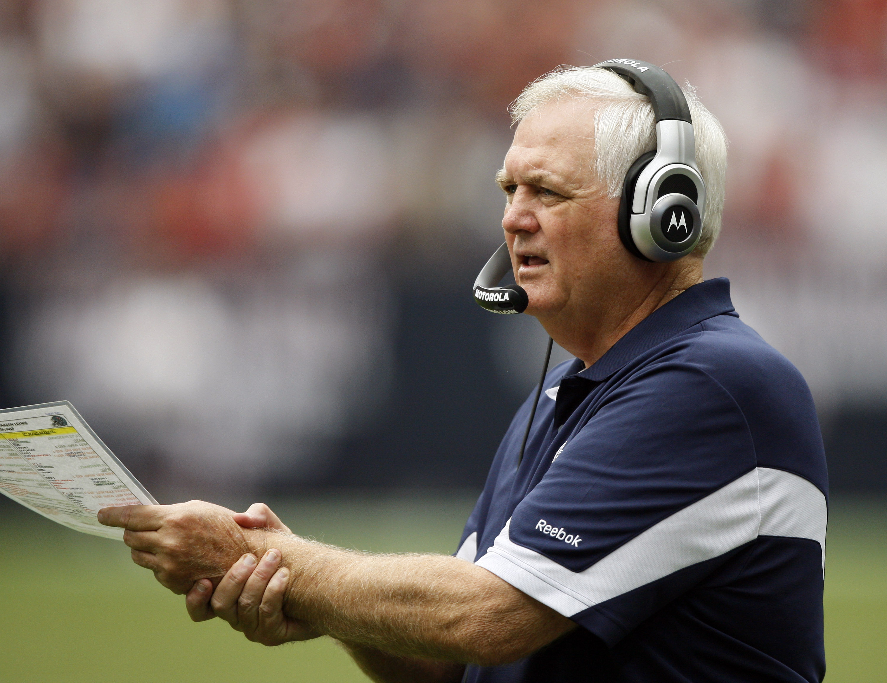 HOUSTON - SEPTEMBER 26:  Head coach Wade Phillips of the Dallas Cowboys looks on from the sideline during a football game against the Houston Texans  at Reliant Stadium on September 26, 2010 in Houston, Texas.  (Photo by Bob Levey/Getty Images)