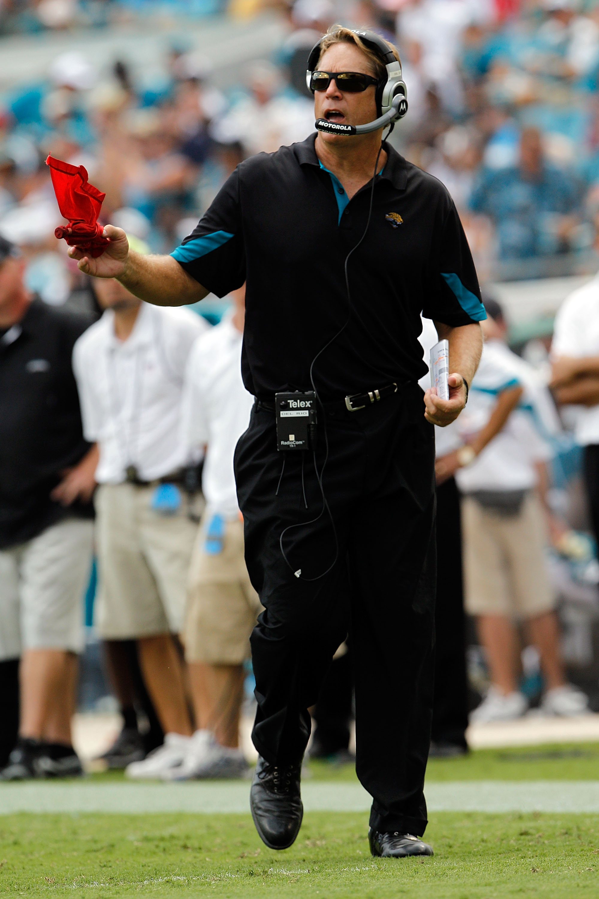 JACKSONVILLE, FL - SEPTEMBER 12:  Head coach Jack Del Rio of the Jacksonville Jaguars throws the red challenge flag during the NFL season opener game against the Denver Broncos at EverBank Field on September 12, 2010 in Jacksonville, Florida.  (Photo by S