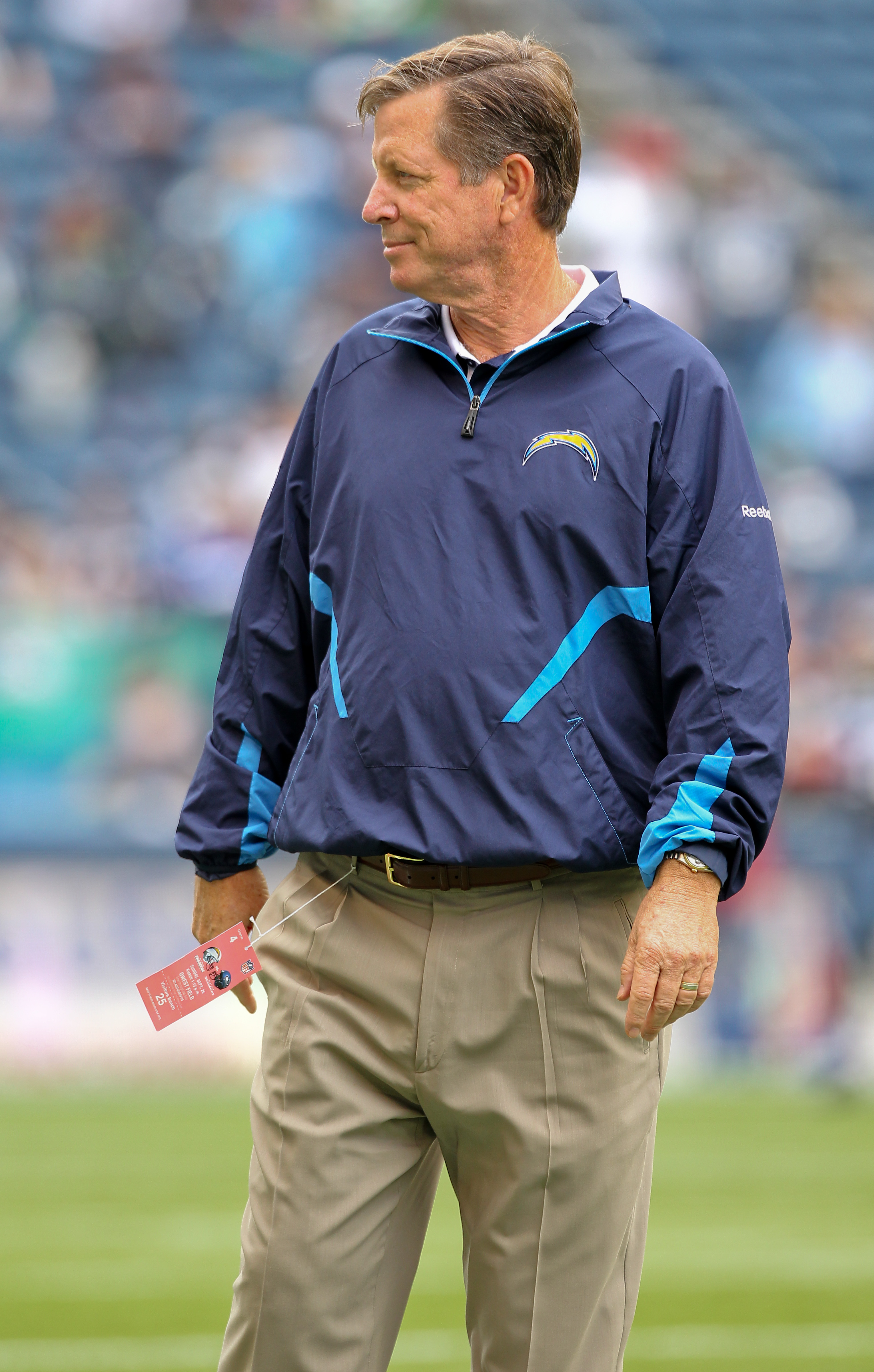 SEATTLE - SEPTEMBER 26:  Head coach Norv Turner of the San Diego Chargers looks on during warmups prior to the game against the Seattle Seahawks at Qwest Field on September 26, 2010 in Seattle, Washington. (Photo by Otto Greule Jr/Getty Images)