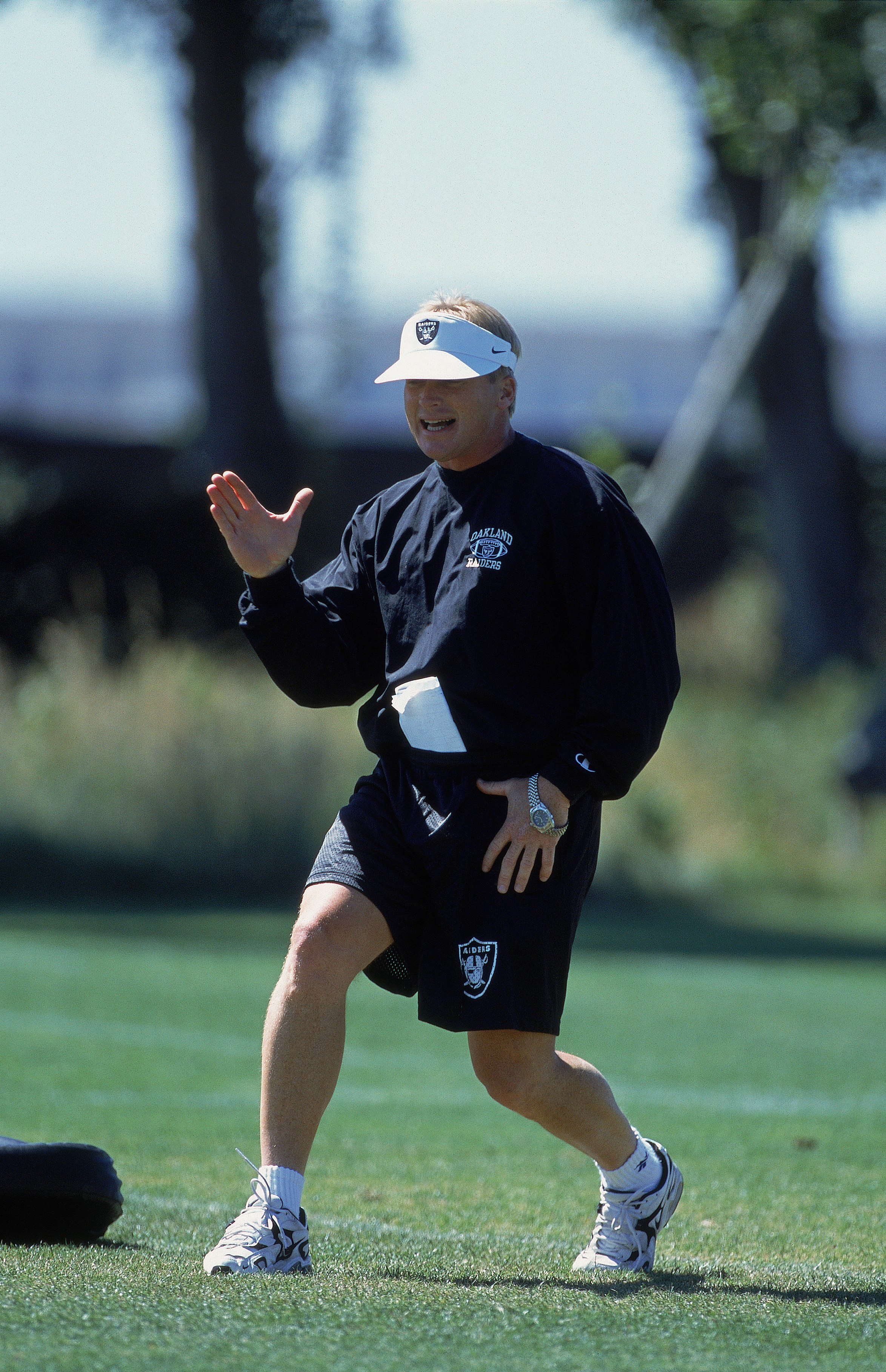 15 Jun 2001:  Head Coach Jon Gruden moves on the field during the Oakland Raiders Training Camp in Alameda, California.Mandatory Credit: Tom Hauck  /Allsport