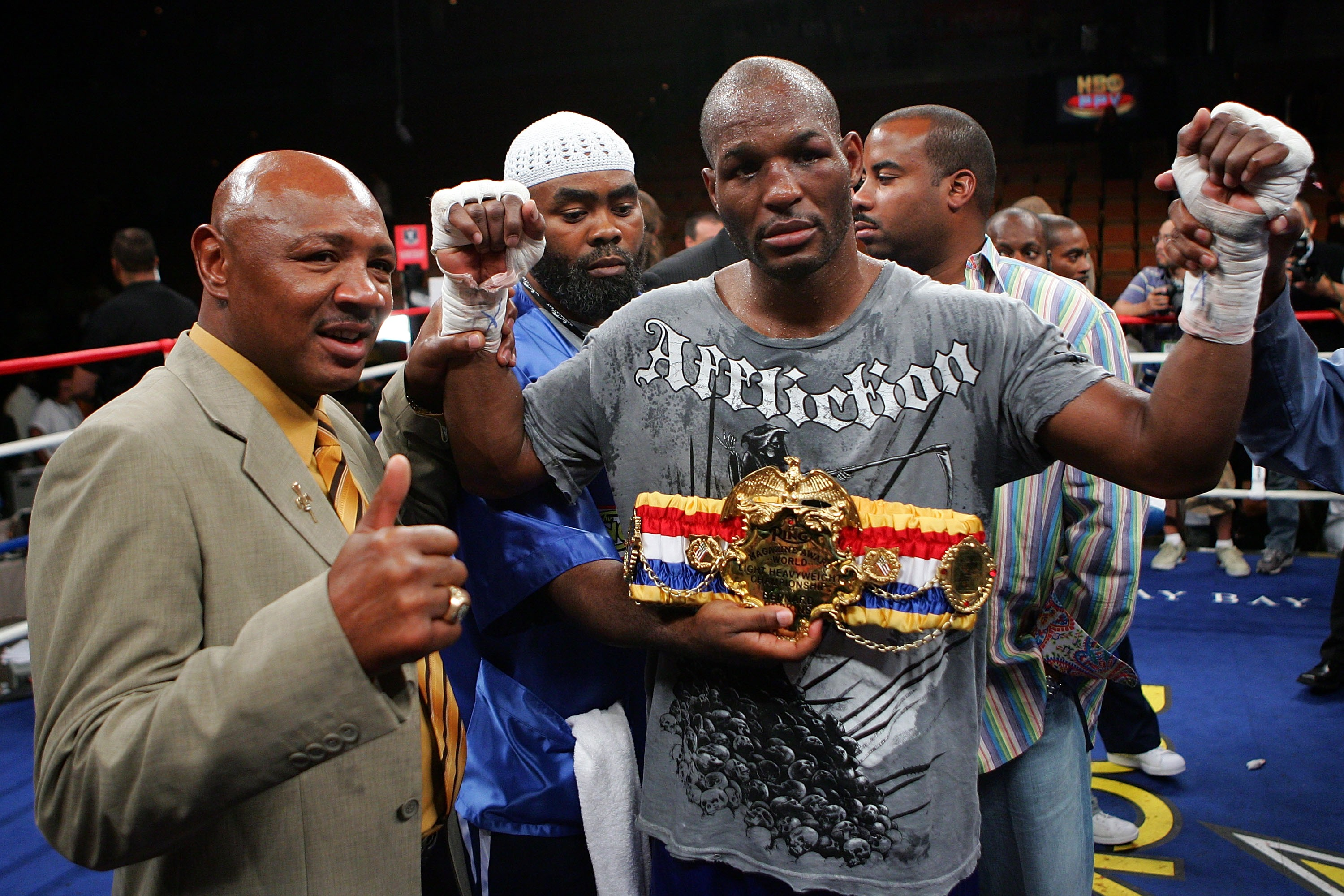 LAS VEGAS - JULY 21:  Bernard Hopkins (R) poses with former boxer Marvin Hagler after defeating Winky Wright by unanimous decision after Hopkins and Wright's light heavyweight fight at the Mandalay Bay Events Center July 21, 2007 in Las Vegas, Nevada.  (P