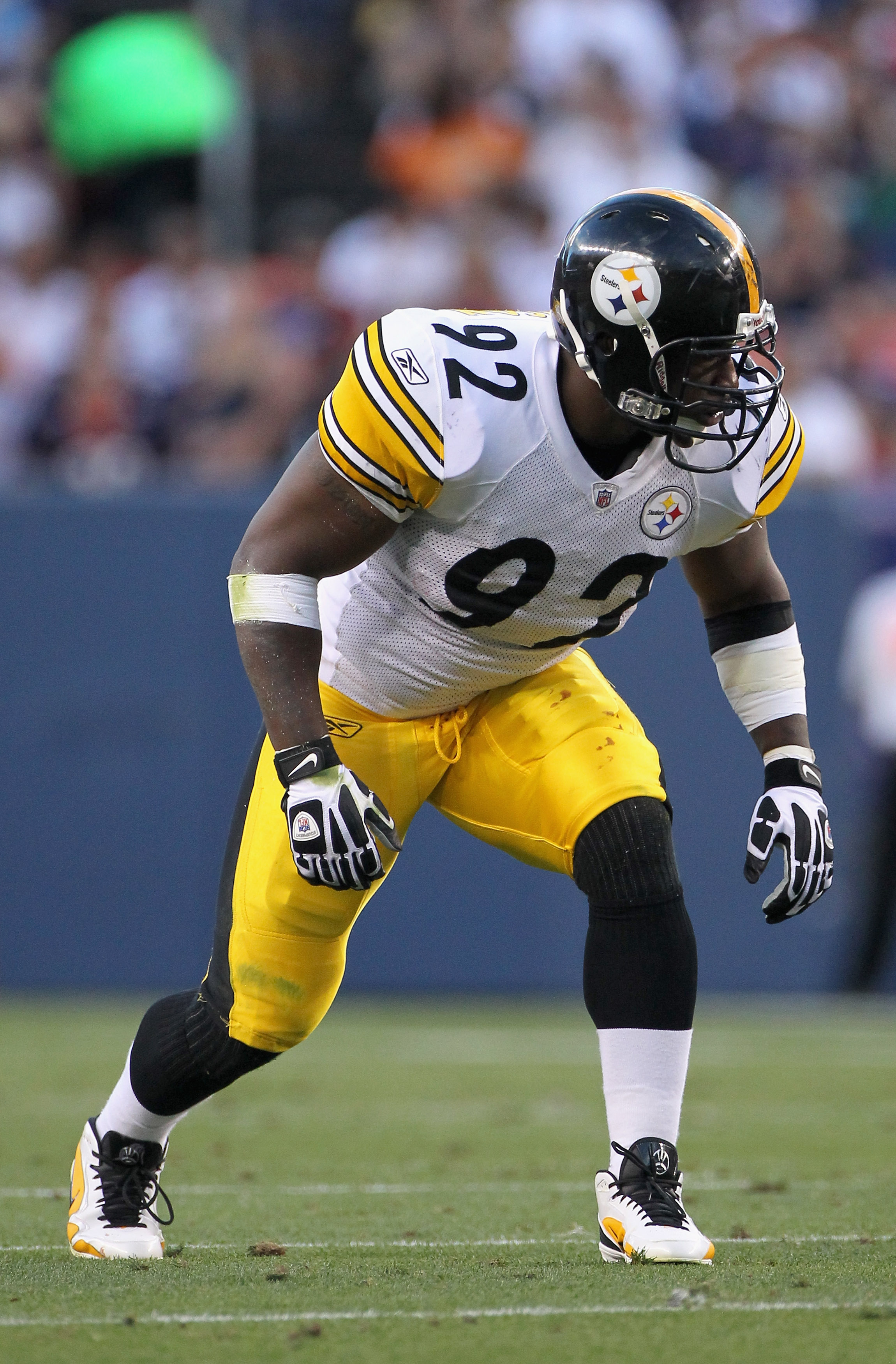 a592958715b DENVER - AUGUST 29  Linebacker James Harrison  92 of the Pittsburgh Steelers  defends against