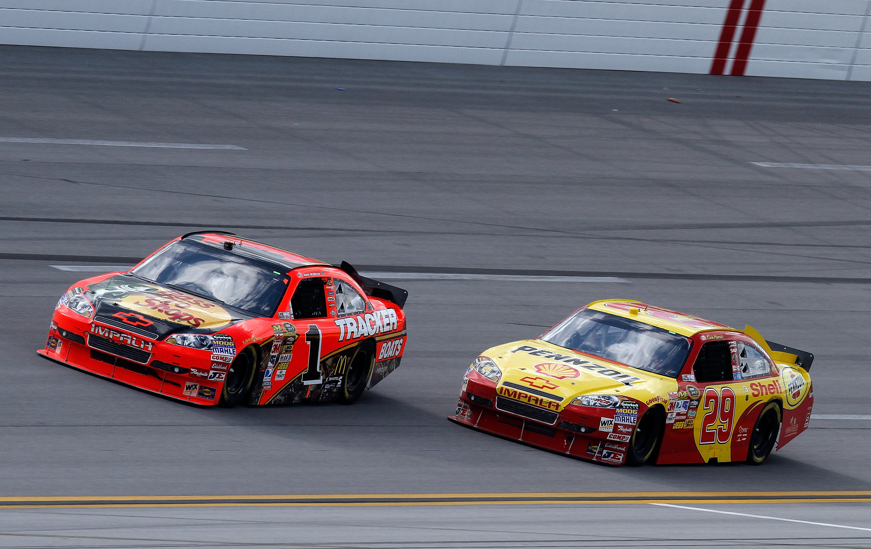 This stirring last lap pass led to Harvick's first win of 2010.