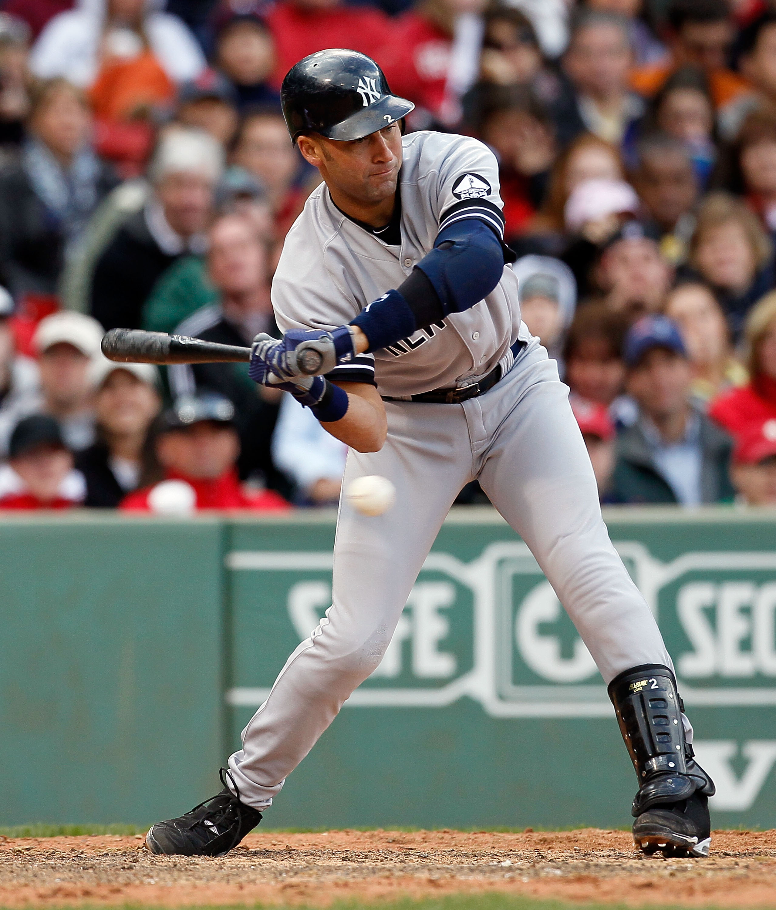 BOSTON - OCTOBER 3:  Derek Jeter #2 of the New York Yankees watches a called third strike during a game against the Boston Red Sox at Fenway Park, October 3, 2010, in Boston, Massachusetts. (Photo by Jim Rogash/Getty Images)