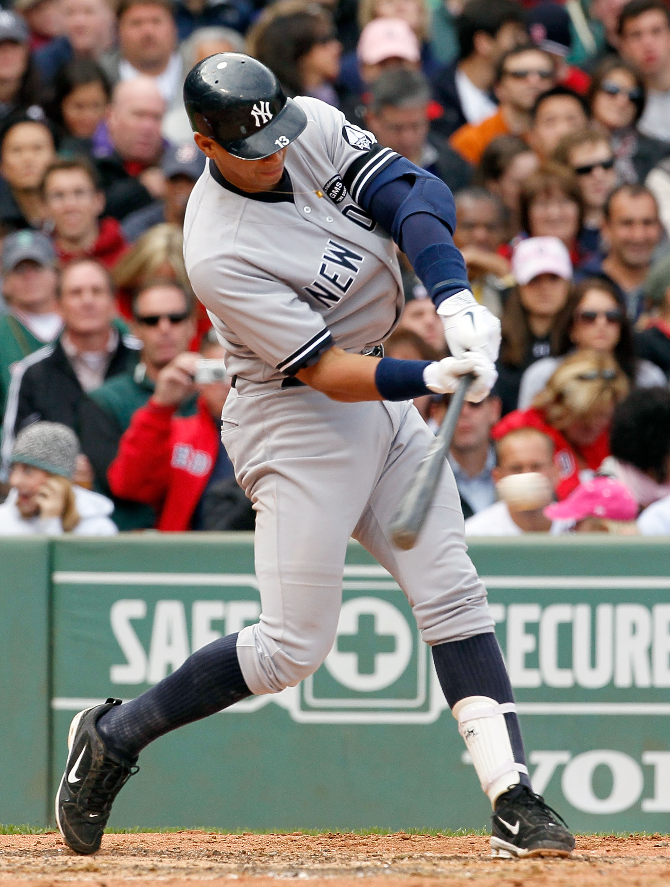 BOSTON - OCTOBER 3:  Alex Rodriguez #13 of the New York Yankees singles to knock in a run in the third inning against the Boston Red Sox at Fenway Park October 3, 2010 in Boston, Massachusetts. (Photo by Jim Rogash/Getty Images)