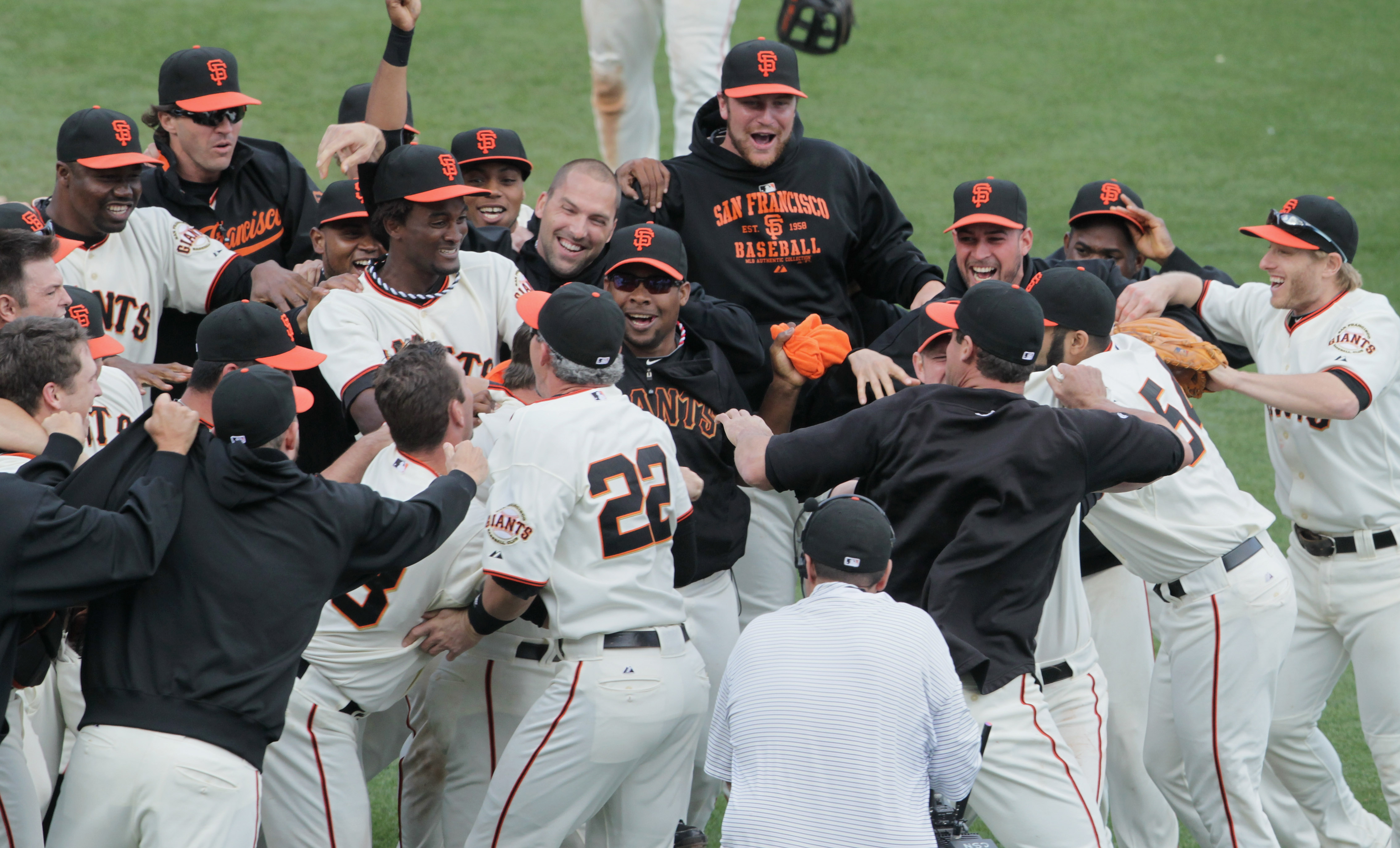SAN FRANCISCO - OCTOBER 03:  San Francisco Giants players celebrate after clinching the National League West divsion against the San Diego Padres at AT&T Park on October 3, 2010 in San Francisco, California.  The Giants beat the Padres 3-0.  (Photo by Jus