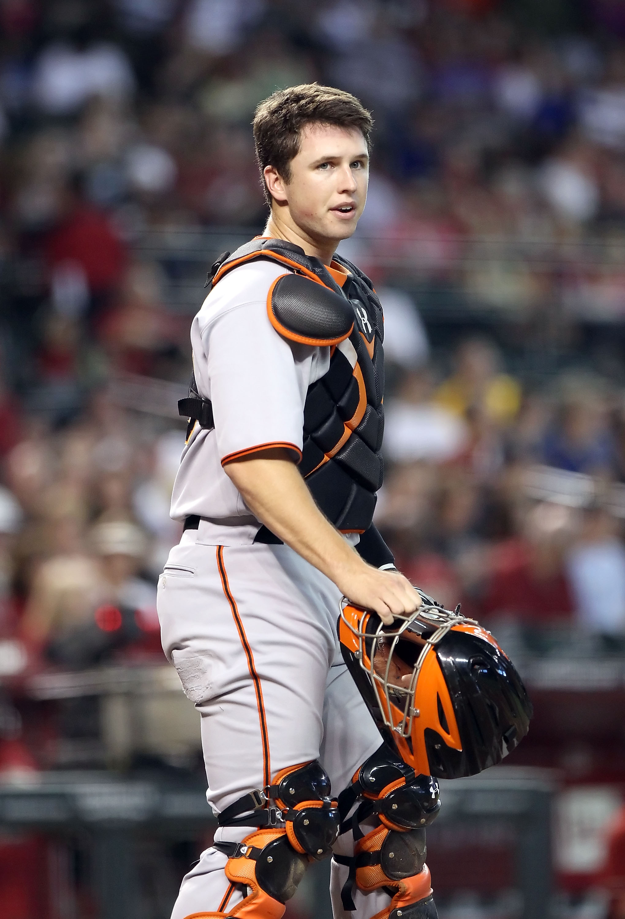 PHOENIX - SEPTEMBER 06:  Catcher Buster Posey #28 of the San Francisco Giants in action during the Major League Baseball game against the Arizona Diamondbacks at Chase Field on September 6, 2010 in Phoenix, Arizona. The Giants defeated the Diamondbacks 2-