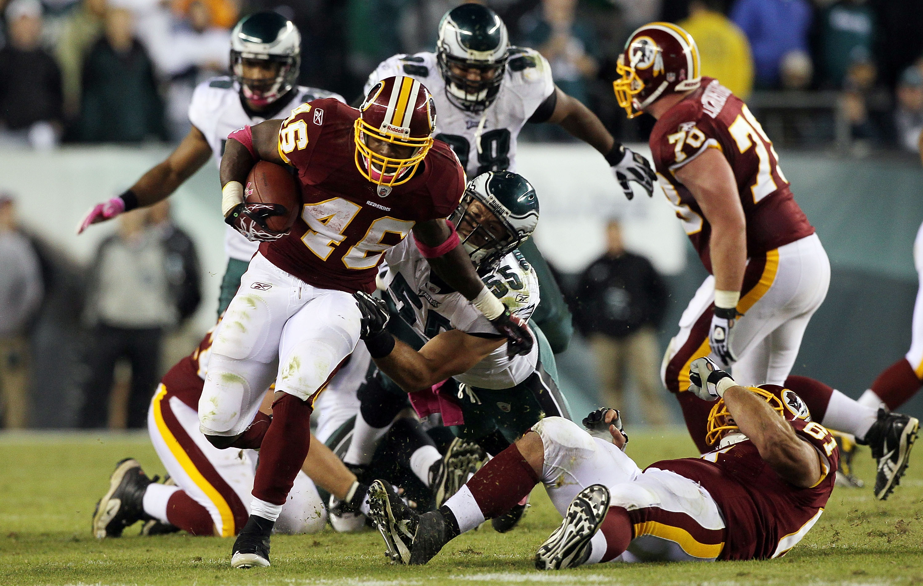 PHILADELPHIA - OCTOBER 03:  Ryan Torain #46 of the Washington Redskins runs the ball against the Philadelphia Eagles on October 3, 2010 at Lincoln Financial Field in Philadelphia, Pennsylvania. The Redskins defeated the Eagles 17-12.  (Photo by Jim McIsaa