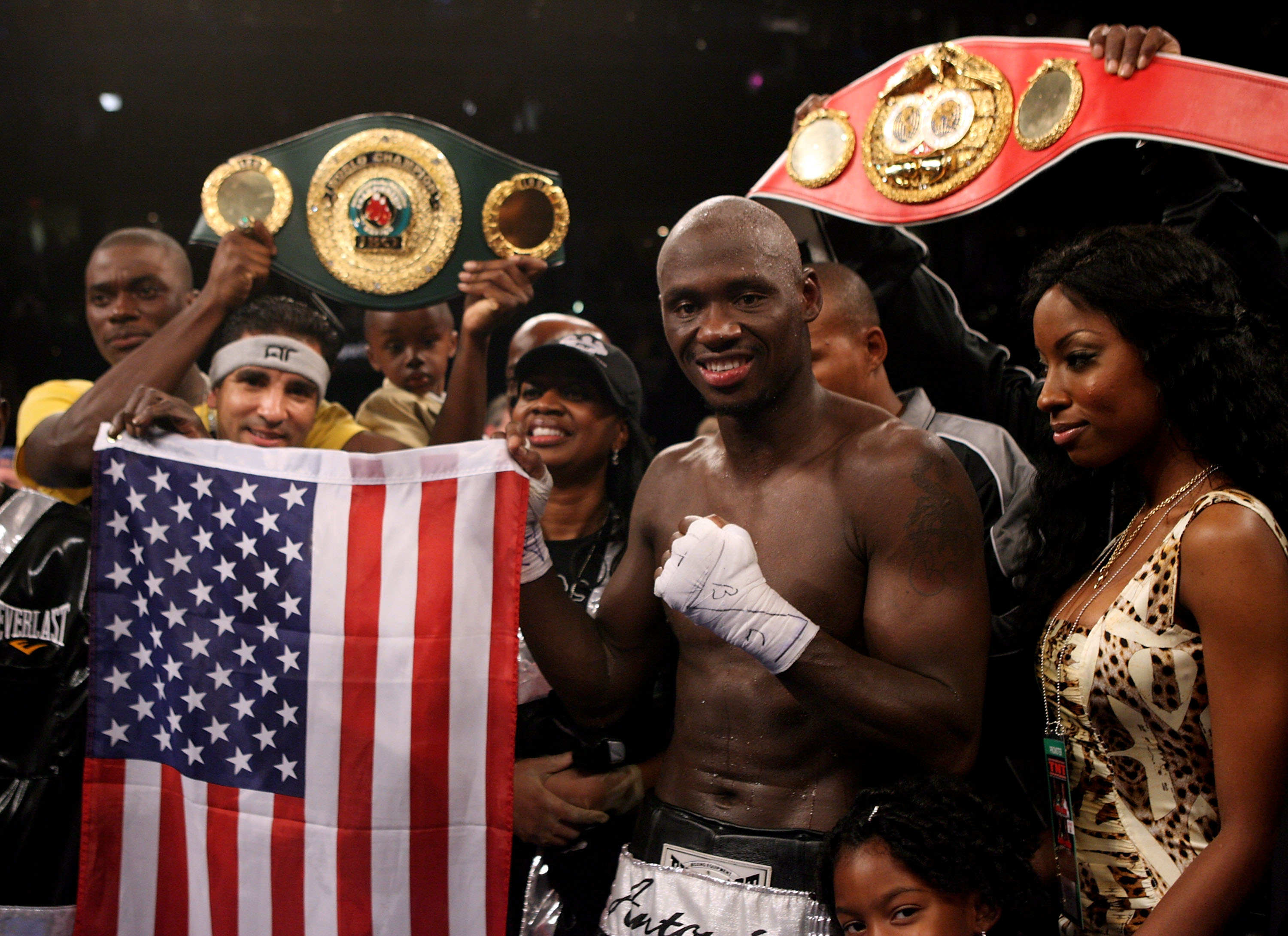 TAMPA, FLORIDA - APRIL 12: Antonio Tarver celebrates beating Clinton Woods during the IBO, IBF light-Heavyweight title fight on April 12, 2008 at the St. Pete Times Forum in Tampa, Florida. (Photo by John Gichigi/Getty Images)