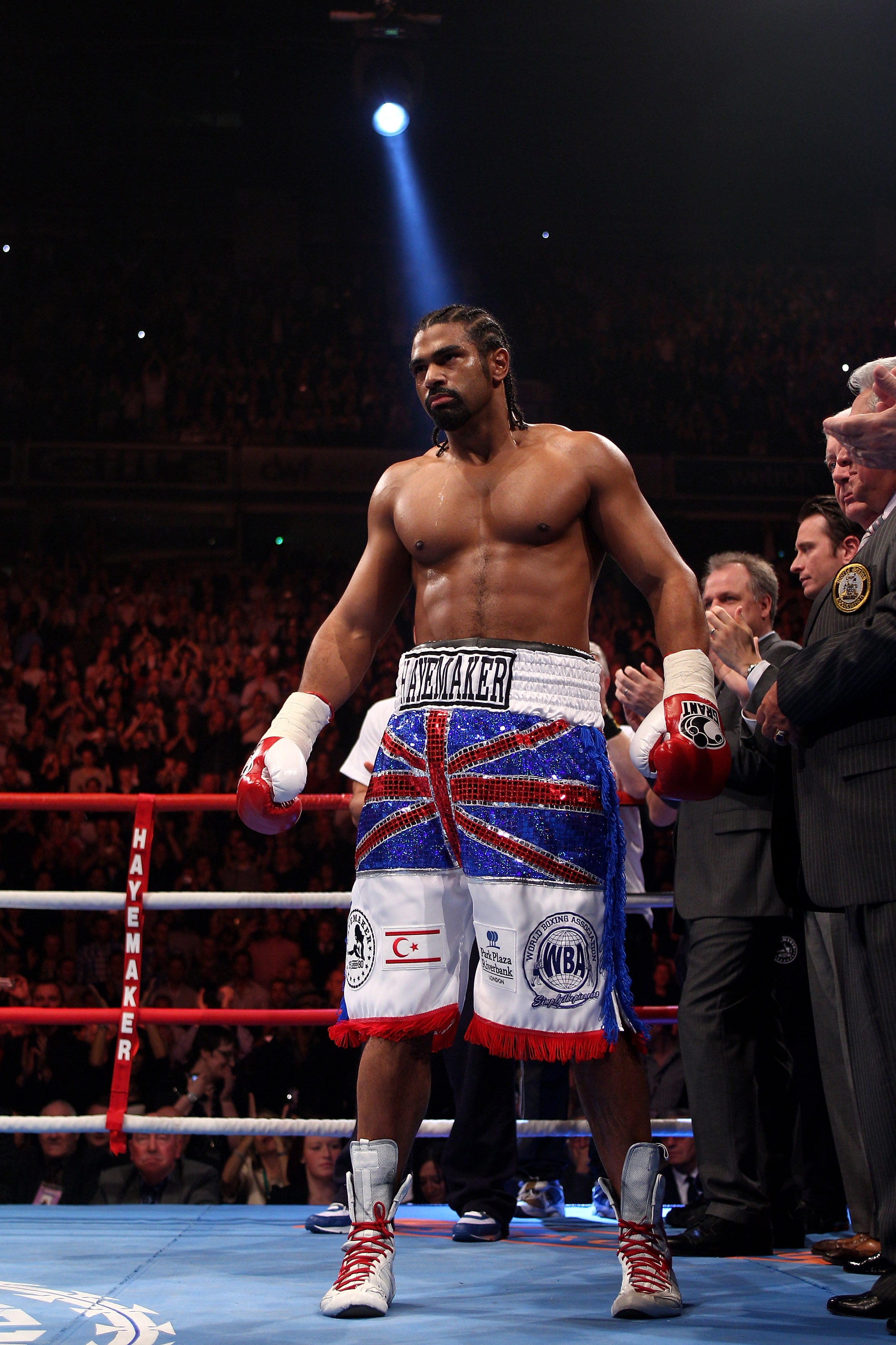 MANCHESTER, ENGLAND - APRIL 03:  David Haye of England is introduced to the crowd before fighting John Ruiz of USA during the World Heavyweight Bout at the MEN Arena on April 3, 2010 in Manchester, England.  (Photo by Michael Steele/Getty Images)