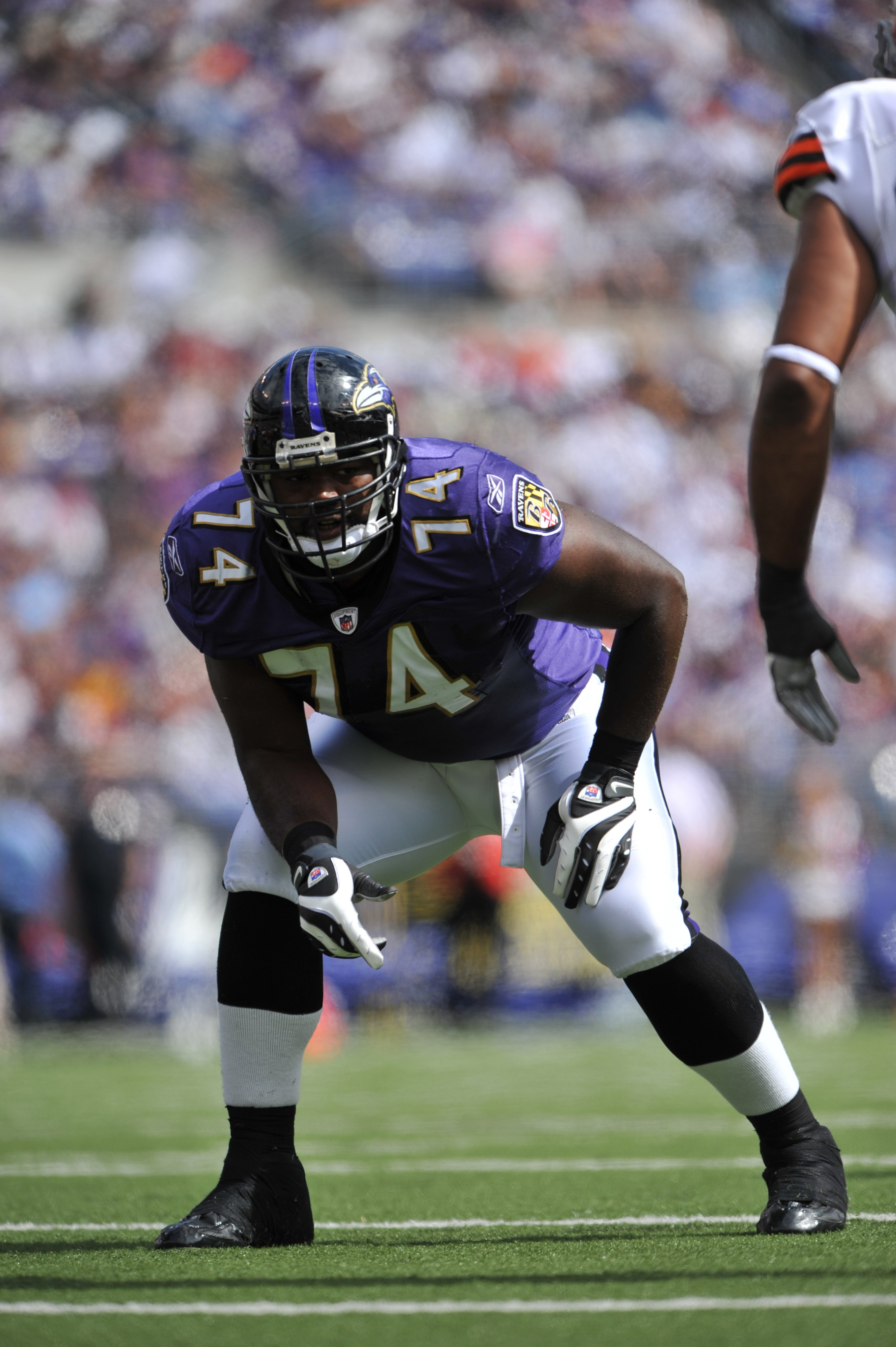 BALTIMORE - SEPTEMBER 27:  Michael Oher #74 of the Baltimore Ravens defends against the Cleveland Browns at M&T Bank Stadium on September 27, 2009 in Baltimore, Maryland. The Ravens defeated the Browns 34-3. (Photo by Larry French/Getty Images)