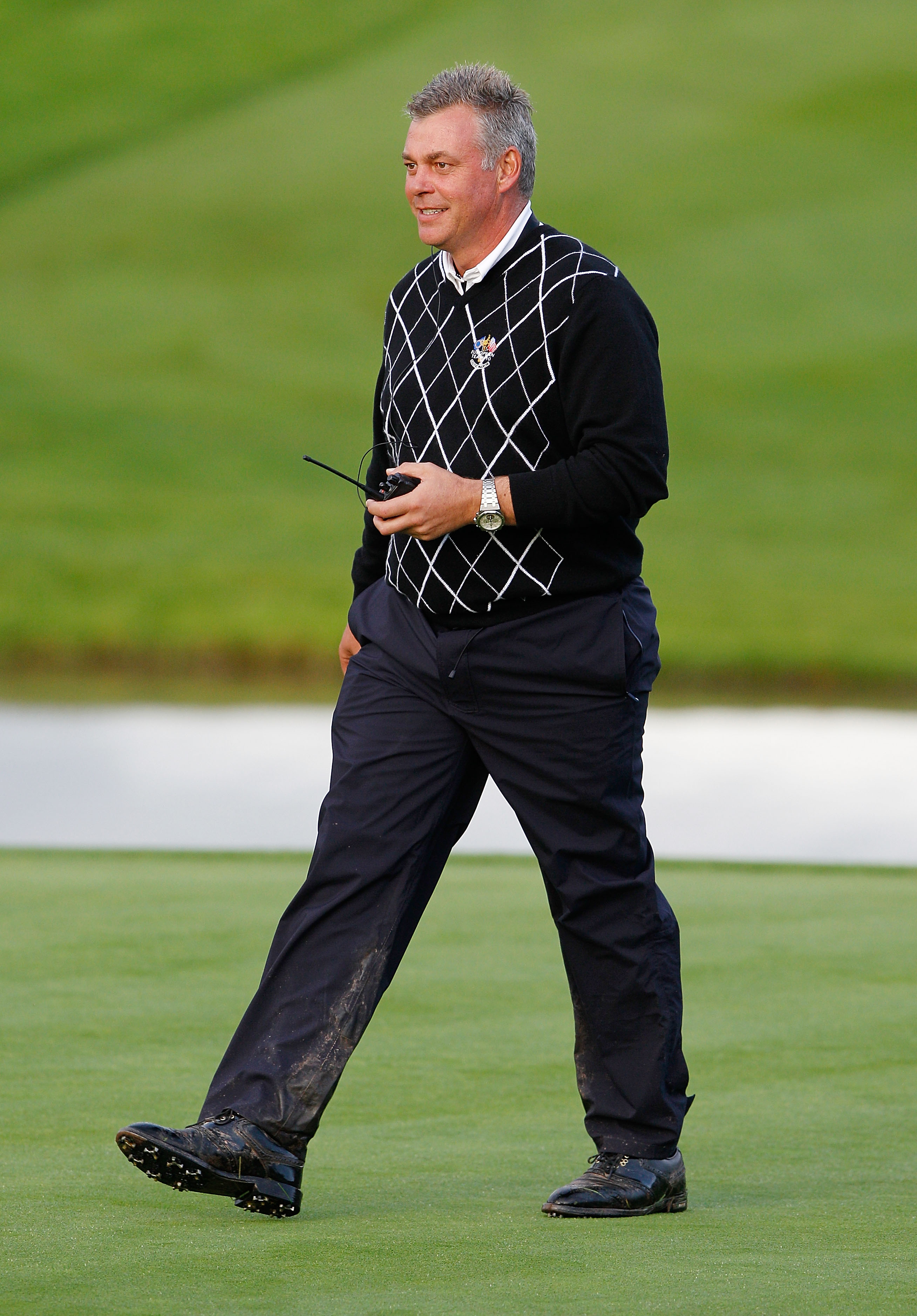 NEWPORT, WALES - OCTOBER 03:  Europe Vice Captain Darren Clarke looks on during the  Fourball & Foursome Matches during the 2010 Ryder Cup at the Celtic Manor Resort on October 3, 2010 in Newport, Wales.  (Photo by Sam Greenwood/Getty Images)