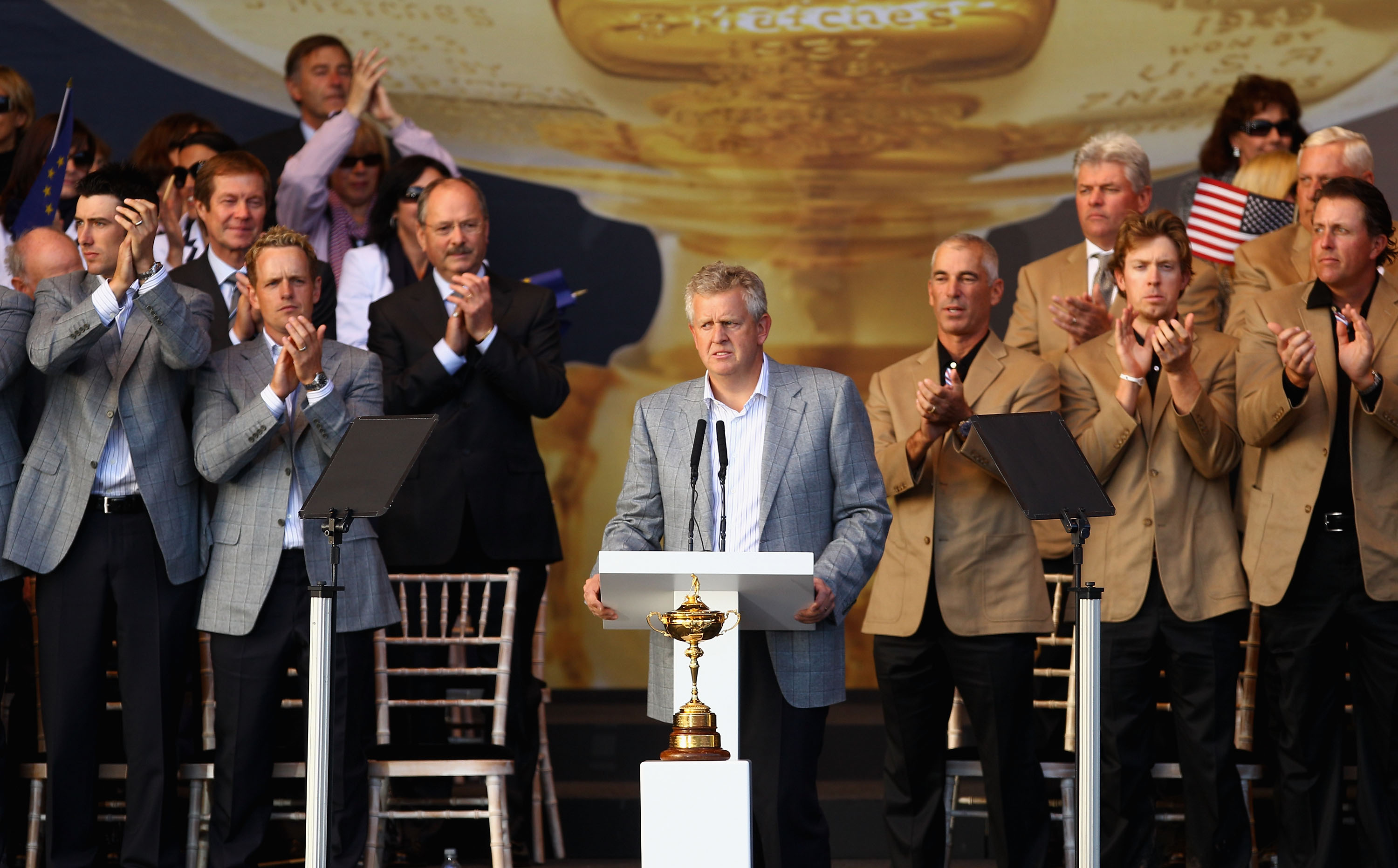 NEWPORT, WALES - OCTOBER 04:  European Team Captain Colin Montgomerie speaks at the closing cermonies following Europe's 14.5 to 13.5 victory over the USA at the 2010 Ryder Cup at the Celtic Manor Resort on October 4, 2010 in Newport, Wales.  (Photo by Ri