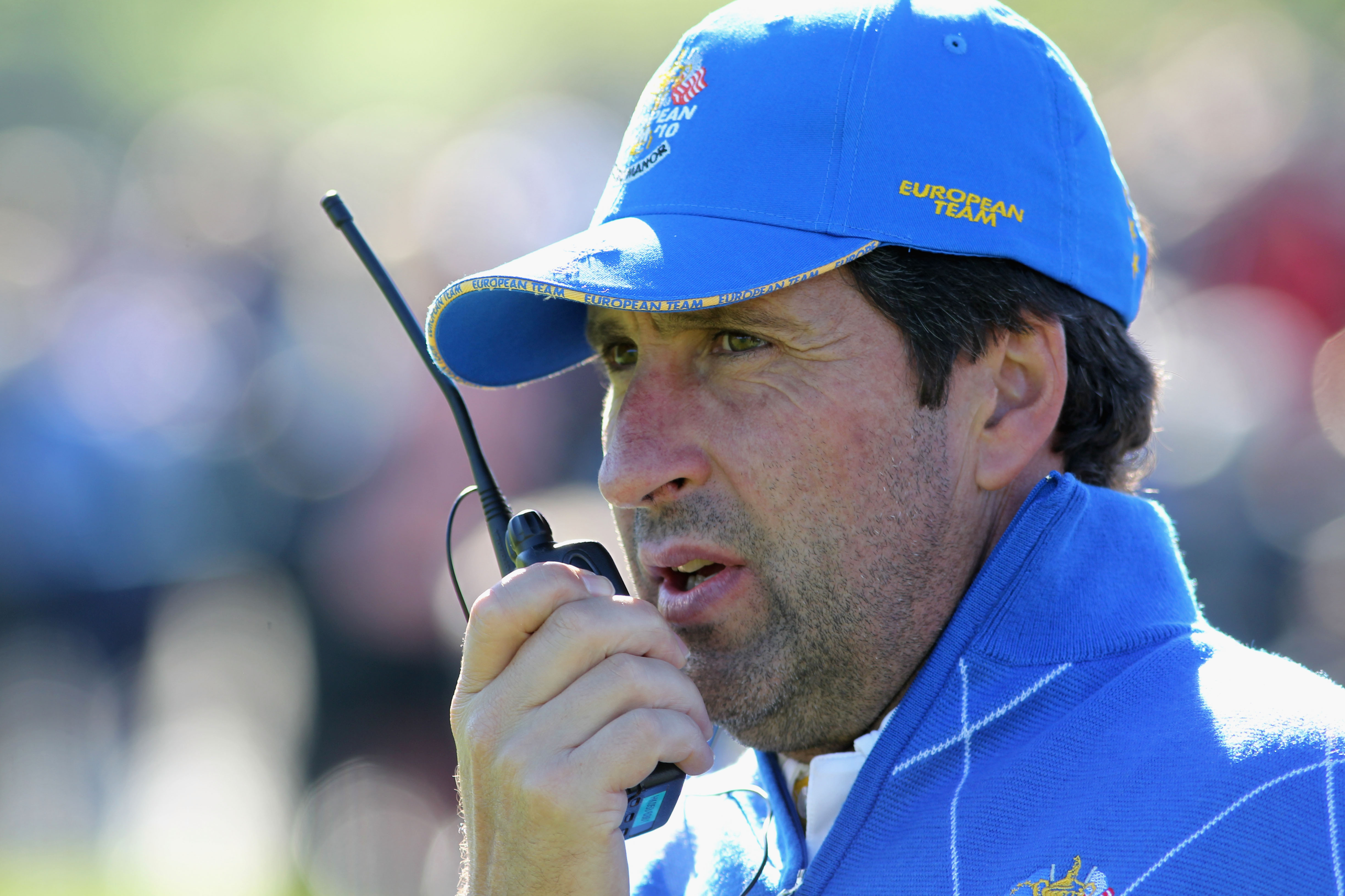 NEWPORT, WALES - OCTOBER 04:  Europe Vice Captain Jose-Maria Olazabal talks on a radio in the singles matches during the 2010 Ryder Cup at the Celtic Manor Resort on October 4, 2010 in Newport, Wales.  (Photo by Jamie Squire/Getty Images)