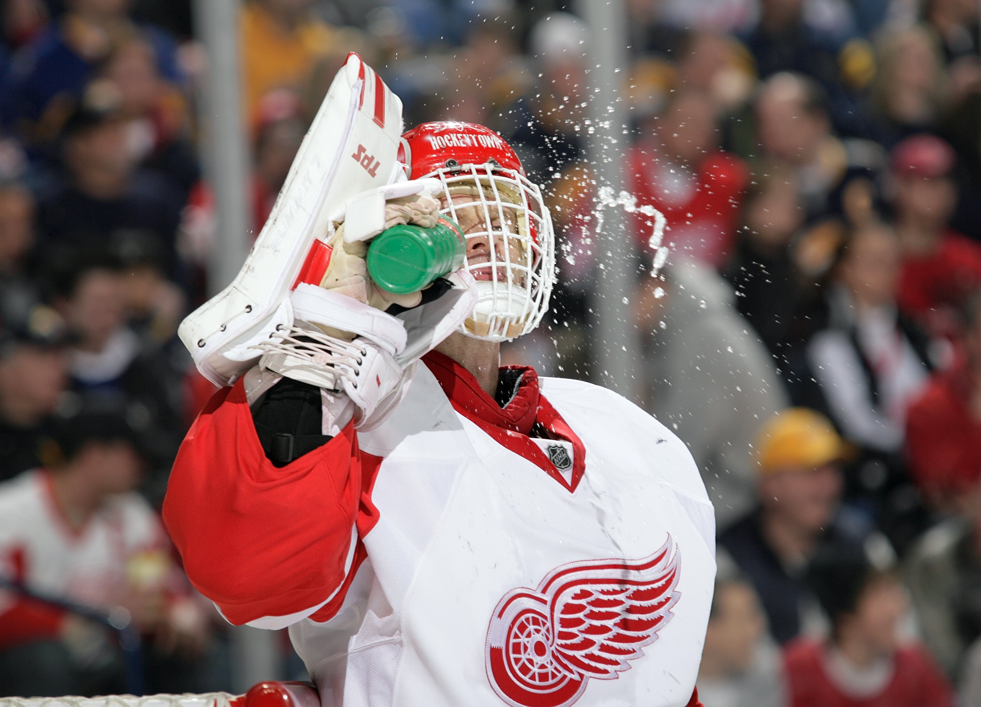 BUFFALO, NY - MARCH 2:  Goaltender Dominik Hasek #39 of the Detroit Red Wings takes in fluids during a break in NHL game action against the Buffalo Sabres on March 2, 2008 at HSBC Arena in Buffalo, New York. The Red Wings defeated the Sabres 4-2. (Photo b