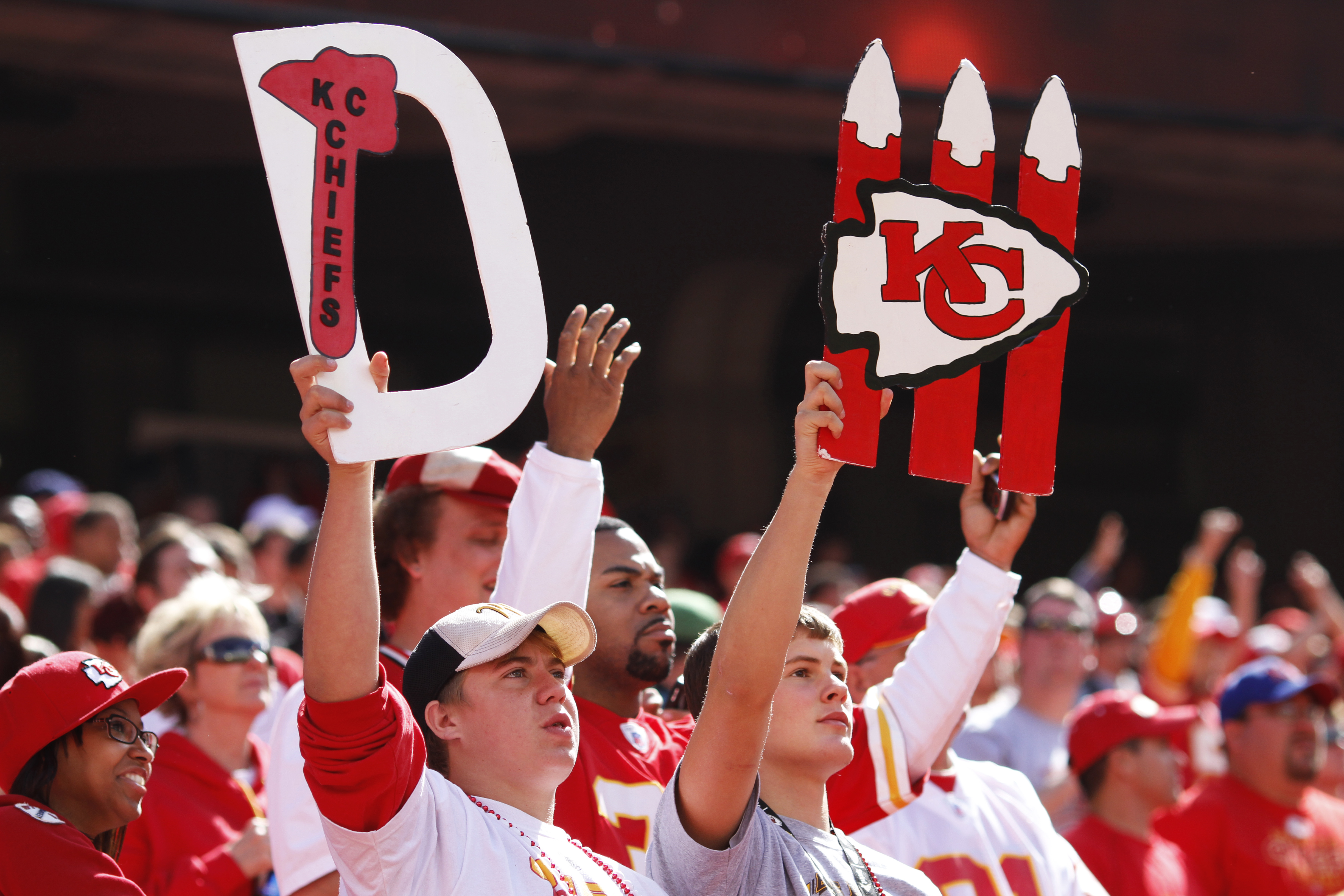 KANSAS CITY, MO - SEPTEMBER 26: A pair of Kansas City Chiefs fans look on during the game against the San Francisco 49ers at Arrowhead Stadium on September 26, 2010 in Kansas City, Missouri. The Chiefs won 31-10. (Photo by Joe Robbins/Getty Images)