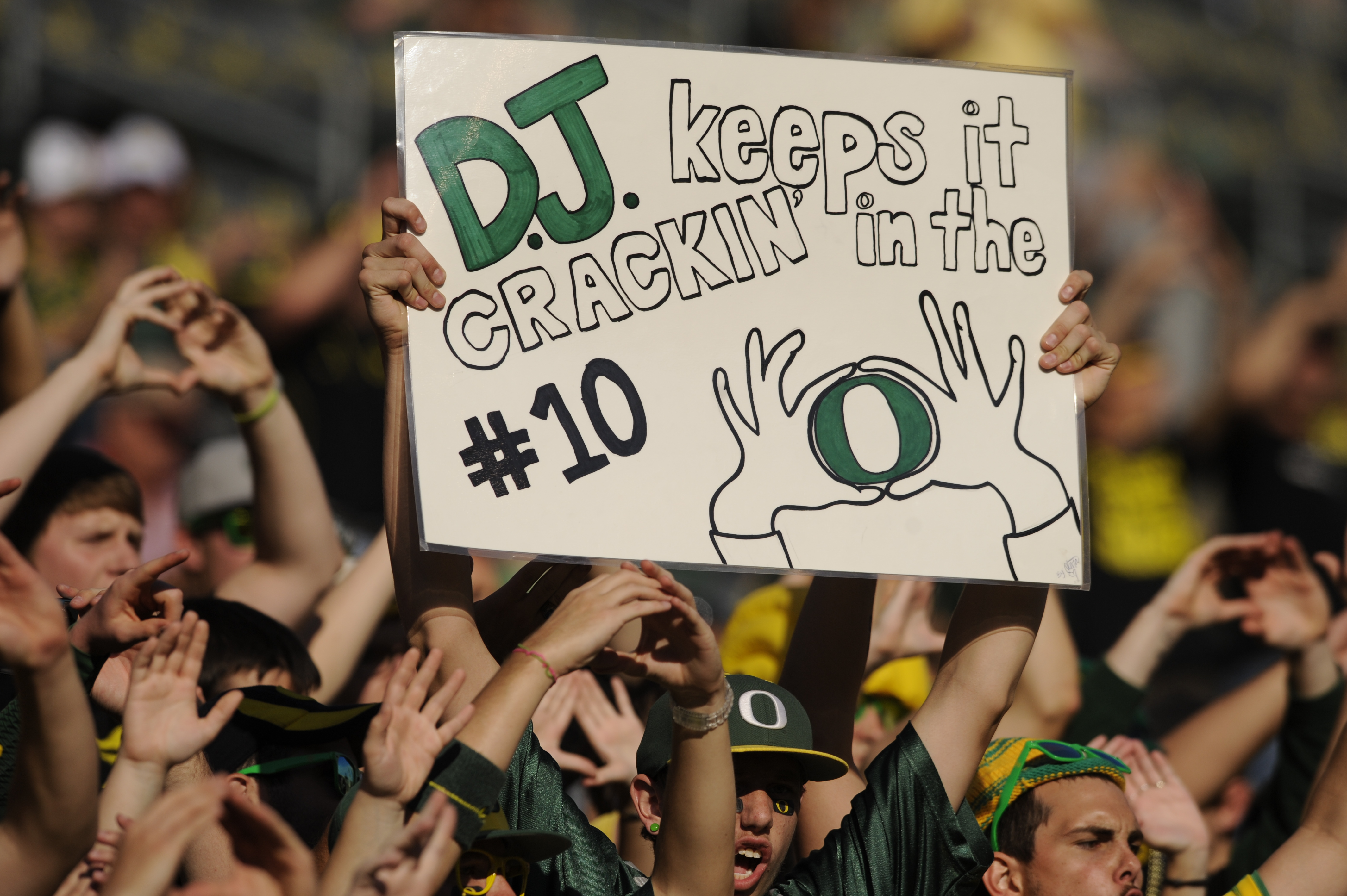 EUGENE, OR - OCTOBER 2: A sign in the stands supports wide receiver D.J. Davis of the Oregon Ducks warms before the start of the game at Autzen Stadium on October 2, 2010 in Eugene, Oregon. Oregon won the game 52-31. (Photo by Steve Dykes/Getty Images)