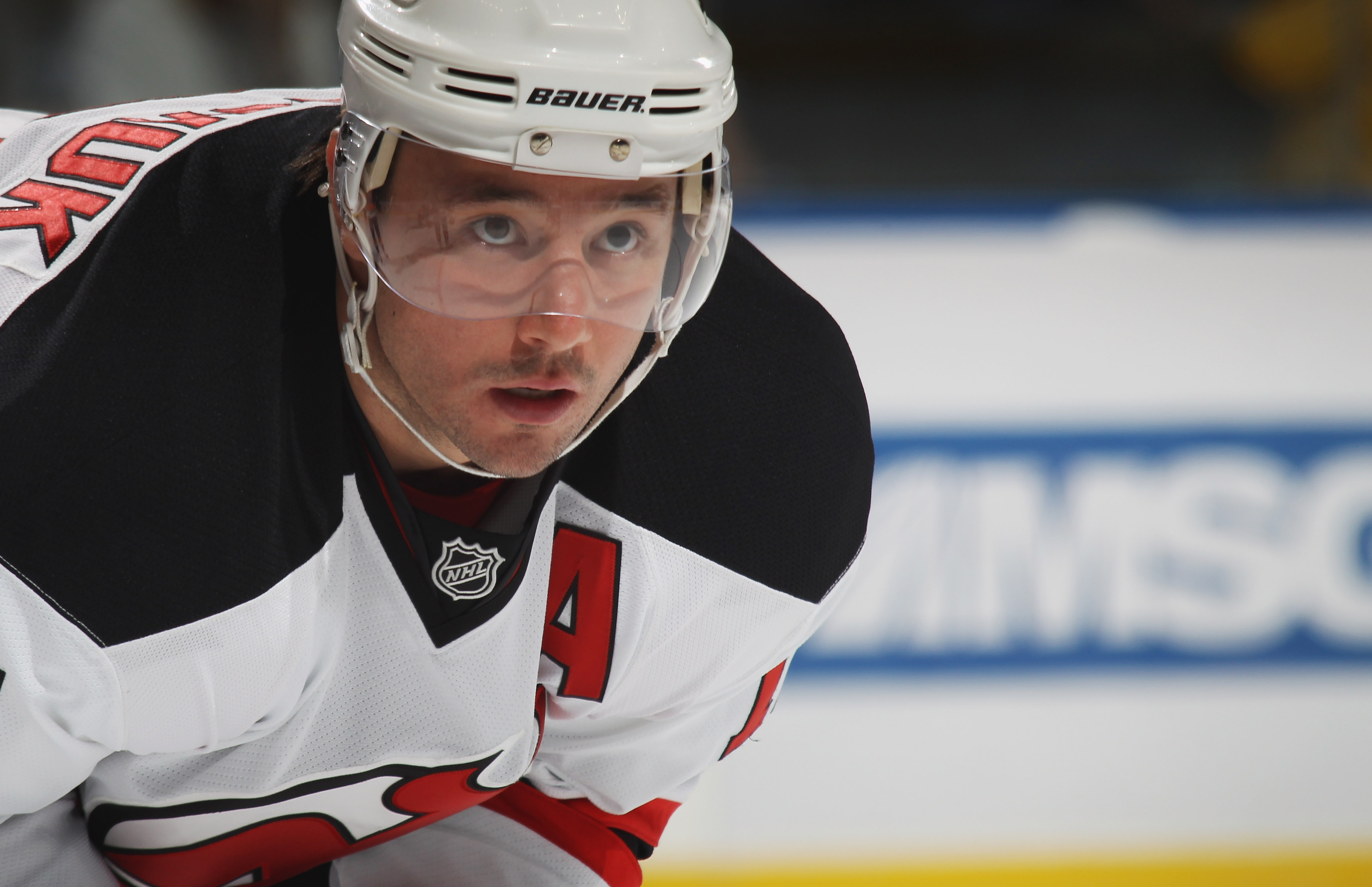 UNIONDALE, NY - OCTOBER 02:  Ilya Kovalchuk #17 of the New Jersey Devils skates against the New York Islanders at the Nassau Veterans Memorial Coliseum on October 2, 2010 in Uniondale, New York. The Islanders defeated the Devils 2-1.  (Photo by Bruce Benn