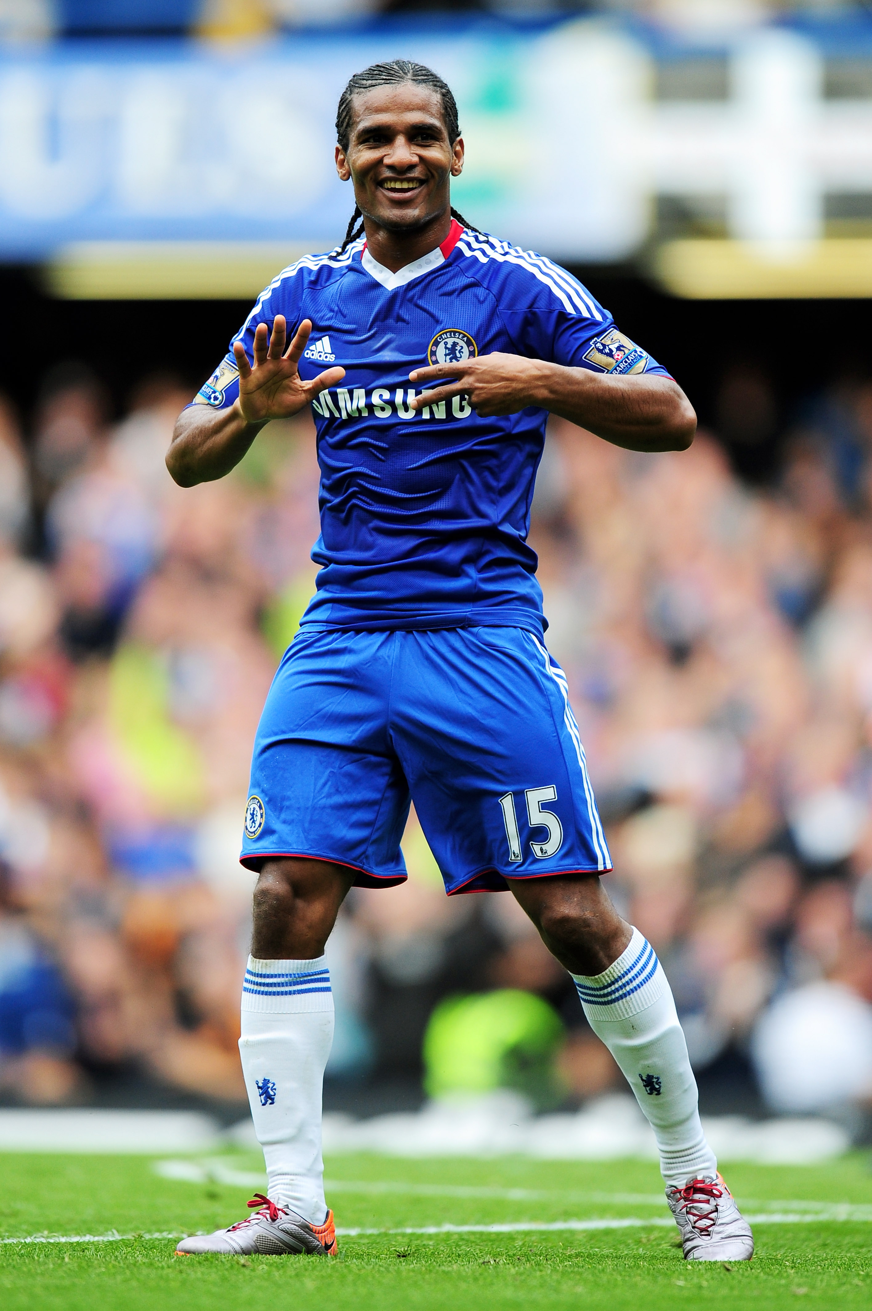 LONDON, ENGLAND - SEPTEMBER 19:  Florent Malouda of Chelsea celebrates after scoring his team's fourth goal during the Barclays Premier League match between Chelsea and Blackpool at Stamford Bridge on September 19, 2010 in London, England.  (Photo by Mike