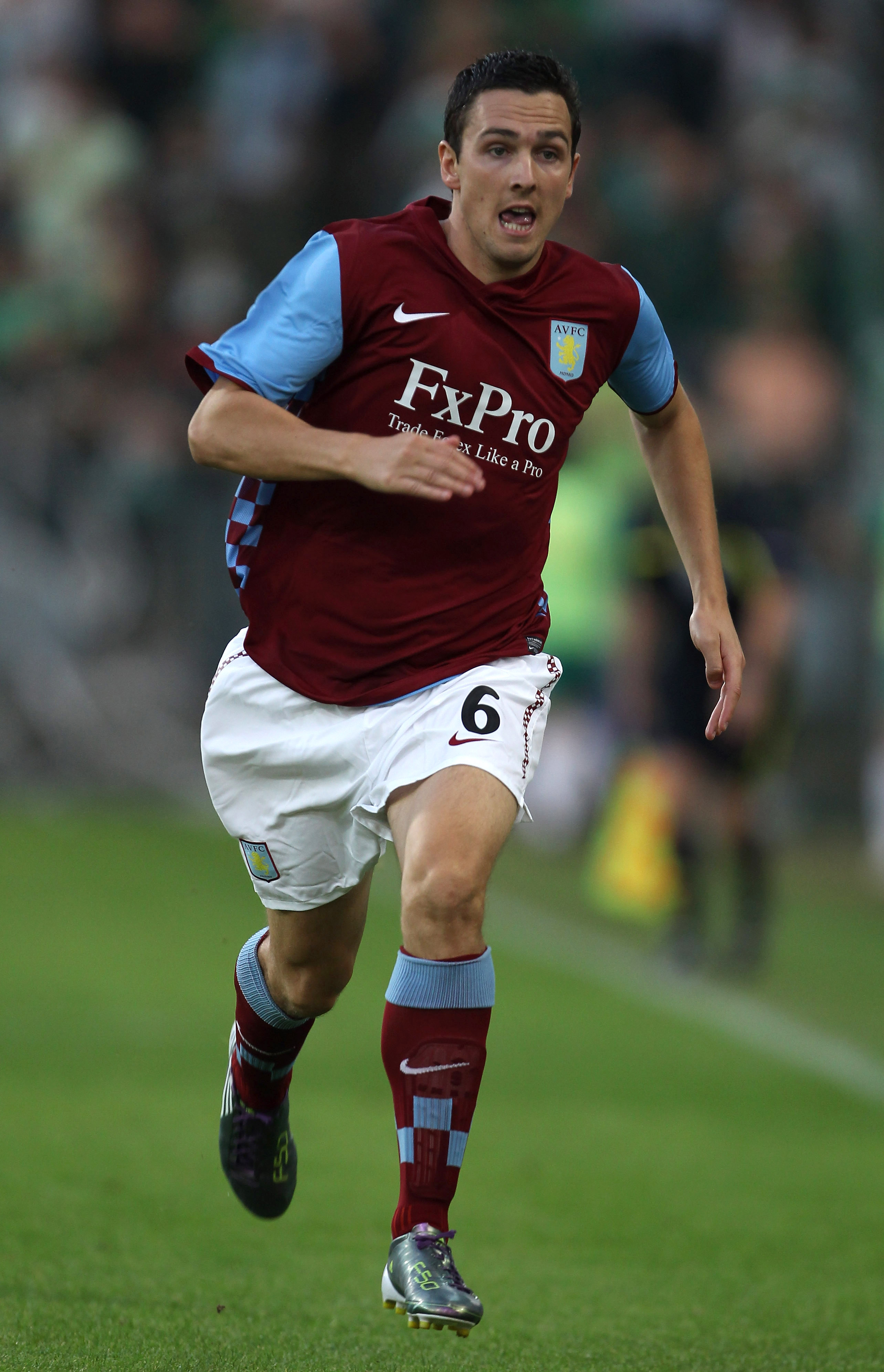 VIENNA, AUSTRIA - AUGUST 19:  Stewart Downing of Aston Villa in action during the UEFA Europa League, Play off, first leg Qualifying match between Rapid Vienna and Aston Villa at the Gerhard Hanappi Stadium on August 19, 2010 in Vienna, Austria.  (Photo b