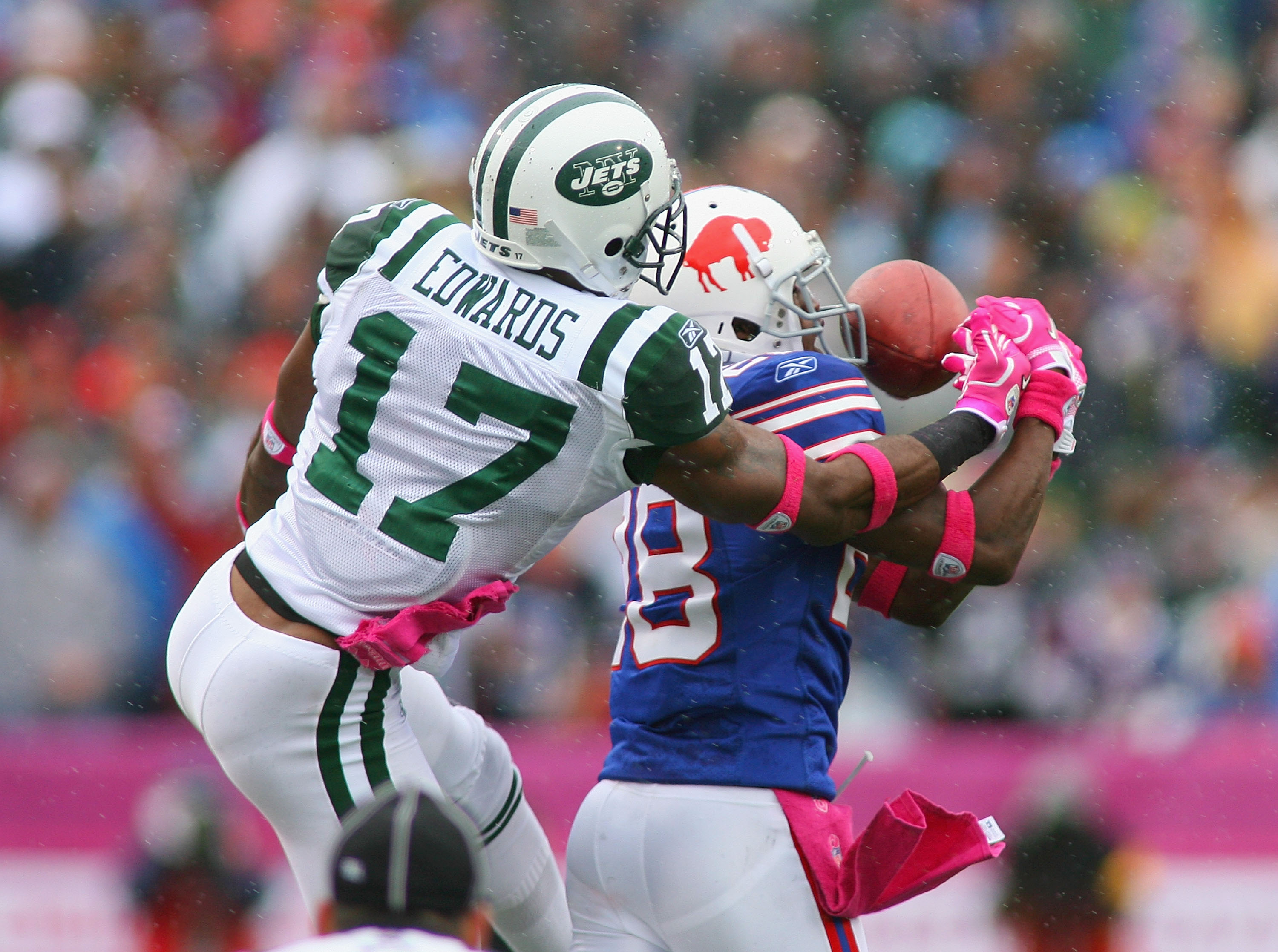ORCHARD PARK, NY - OCTOBER 03: Leodis McKelvin #28 of  the Buffalo Bills breaks up a pass intended for Braylon Edwards #17 of the New York Jets at Ralph Wilson Stadium on October 3, 2010 in Orchard Park, New York. The Jets won 38-14. (Photo by Rick Stewar