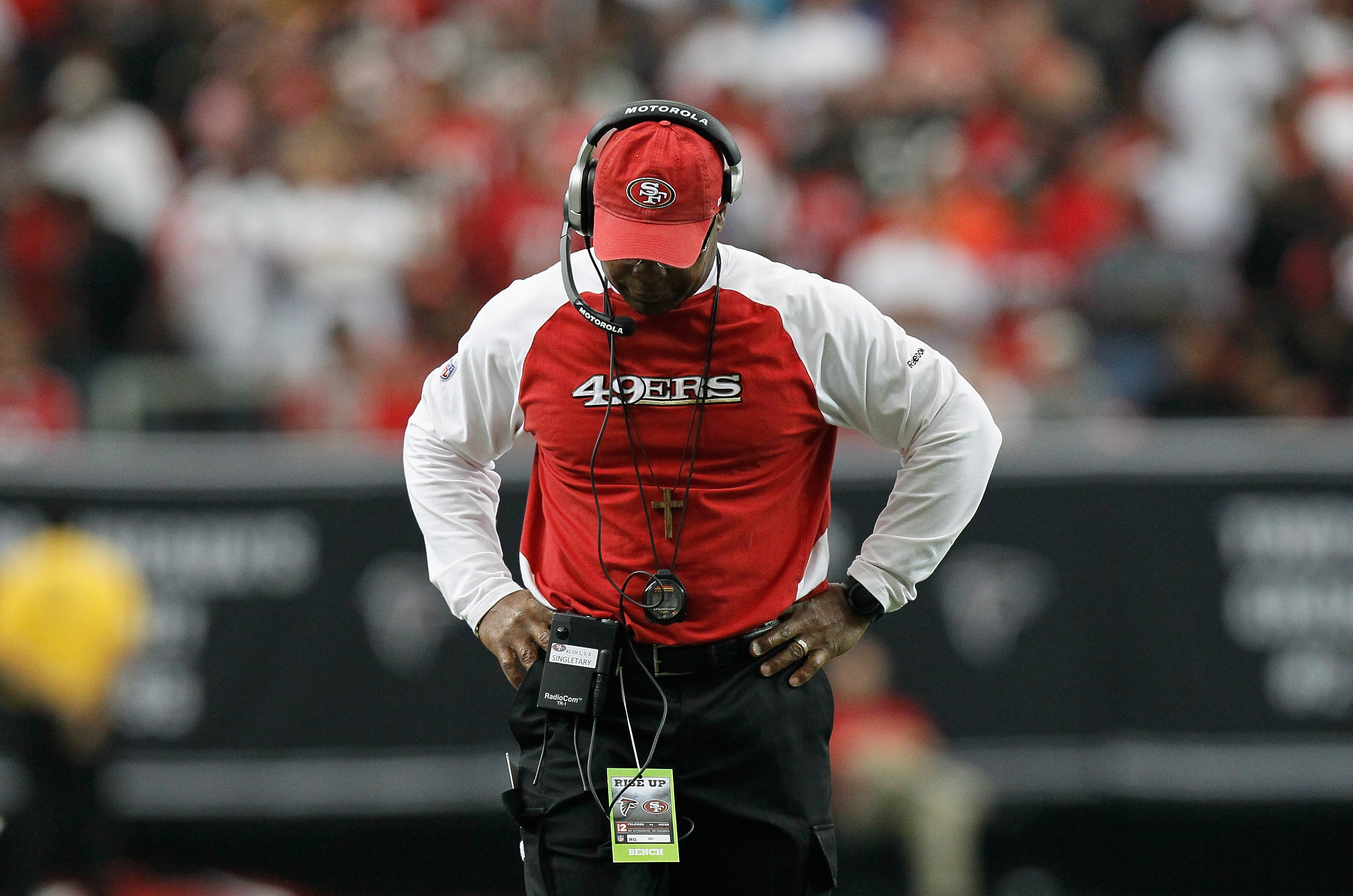 ATLANTA - OCTOBER 03:  Head coach Mike Singletary of the San Francisco 49ers paces the sidelines during the game against the Atlanta Falcons at Georgia Dome on October 3, 2010 in Atlanta, Georgia.  (Photo by Kevin C. Cox/Getty Images)