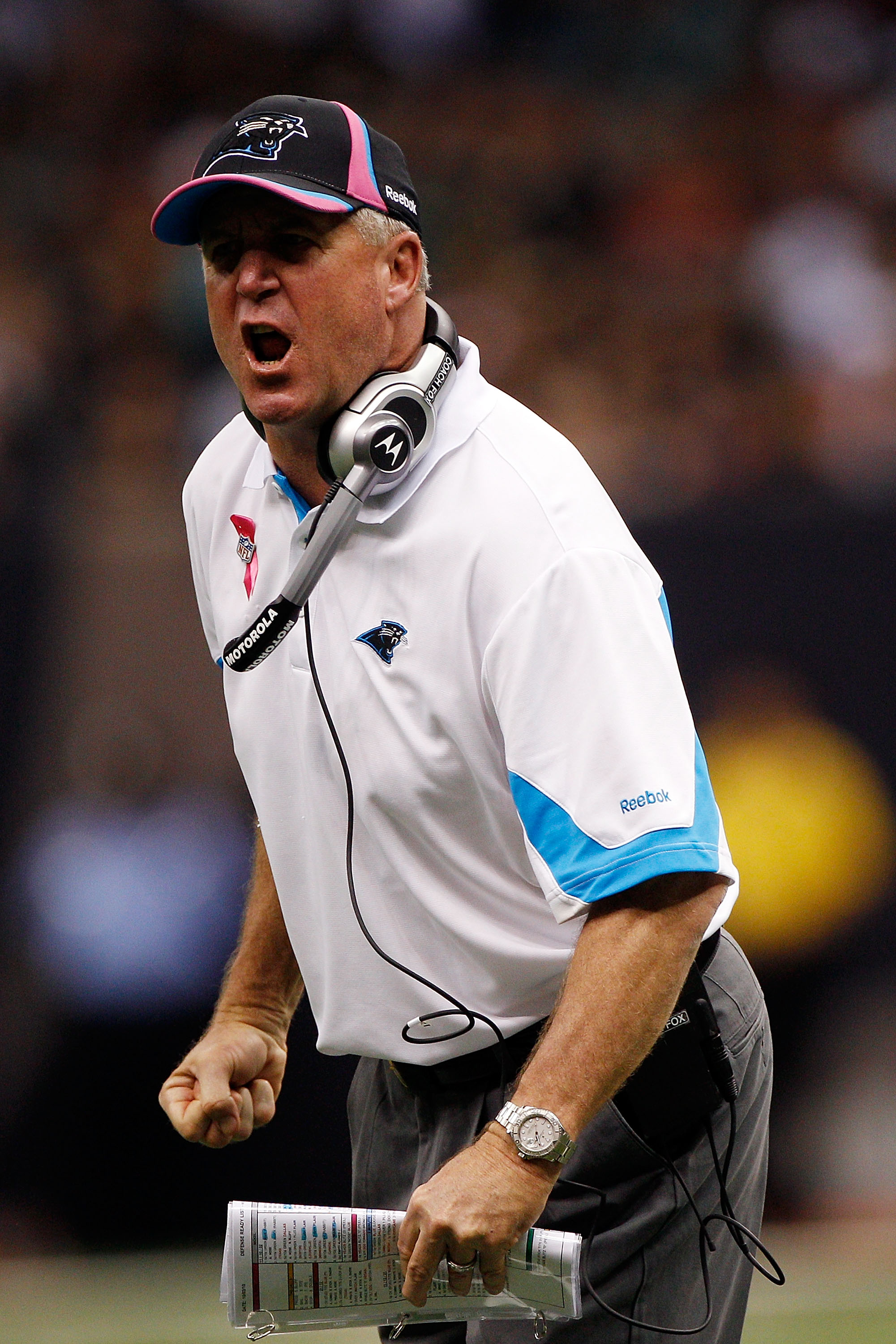 NEW ORLEANS - OCTOBER 03:  Head coach John Fox of the Carolina Panthers reacts to a call during the game against the New Orleans Saints at the Louisiana Superdome on October 3, 2010 in New Orleans, Louisiana.  (Photo by Chris Graythen/Getty Images)