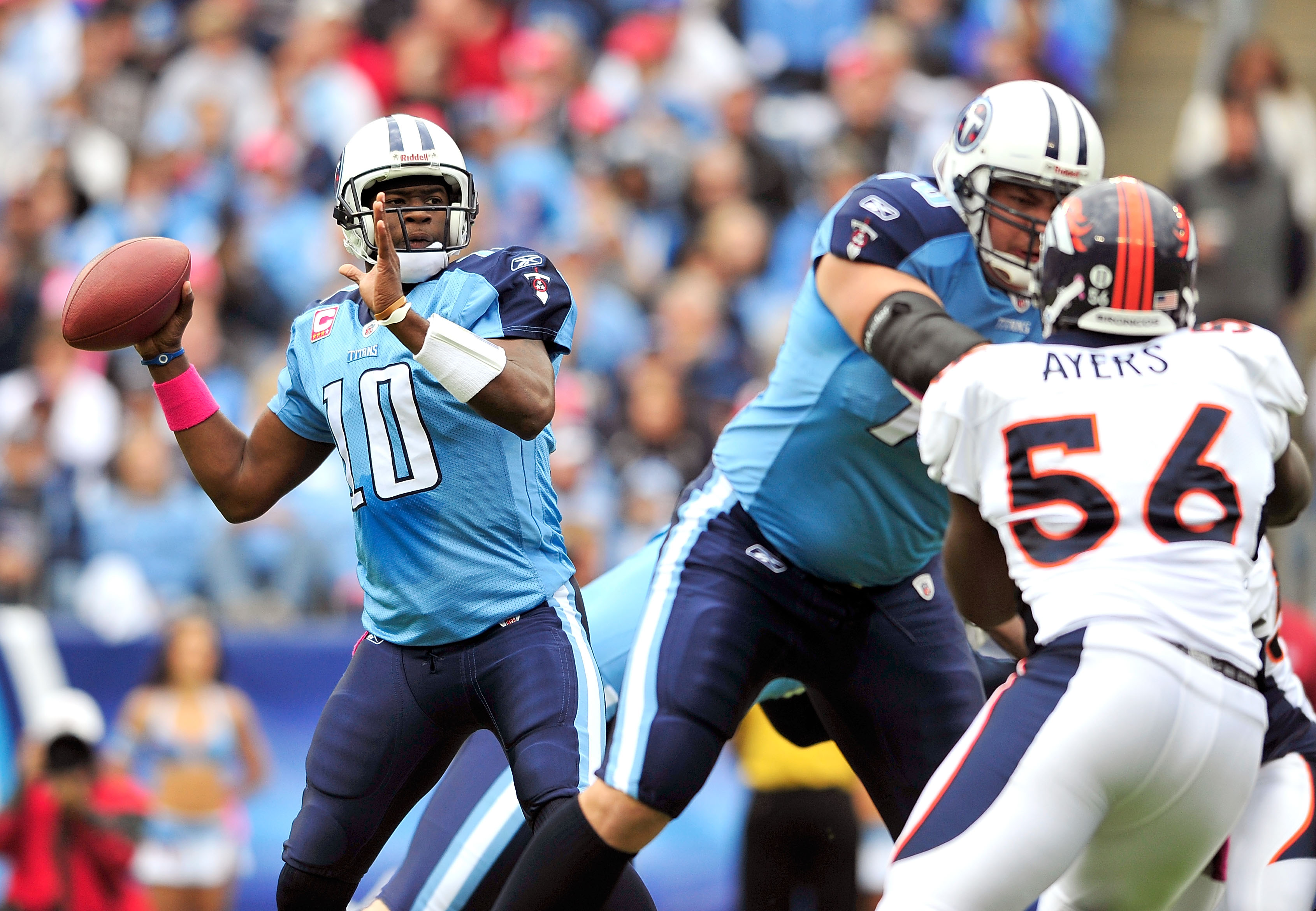 NASHVILLE, TN - OCTOBER 03:  Vince Young #10 of the Tennessee Titans drops back to pass against the Denver Broncos during the first half at LP Field on October 3, 2010 in Nashville, Tennessee.  (Photo by Grant Halverson/Getty Images)