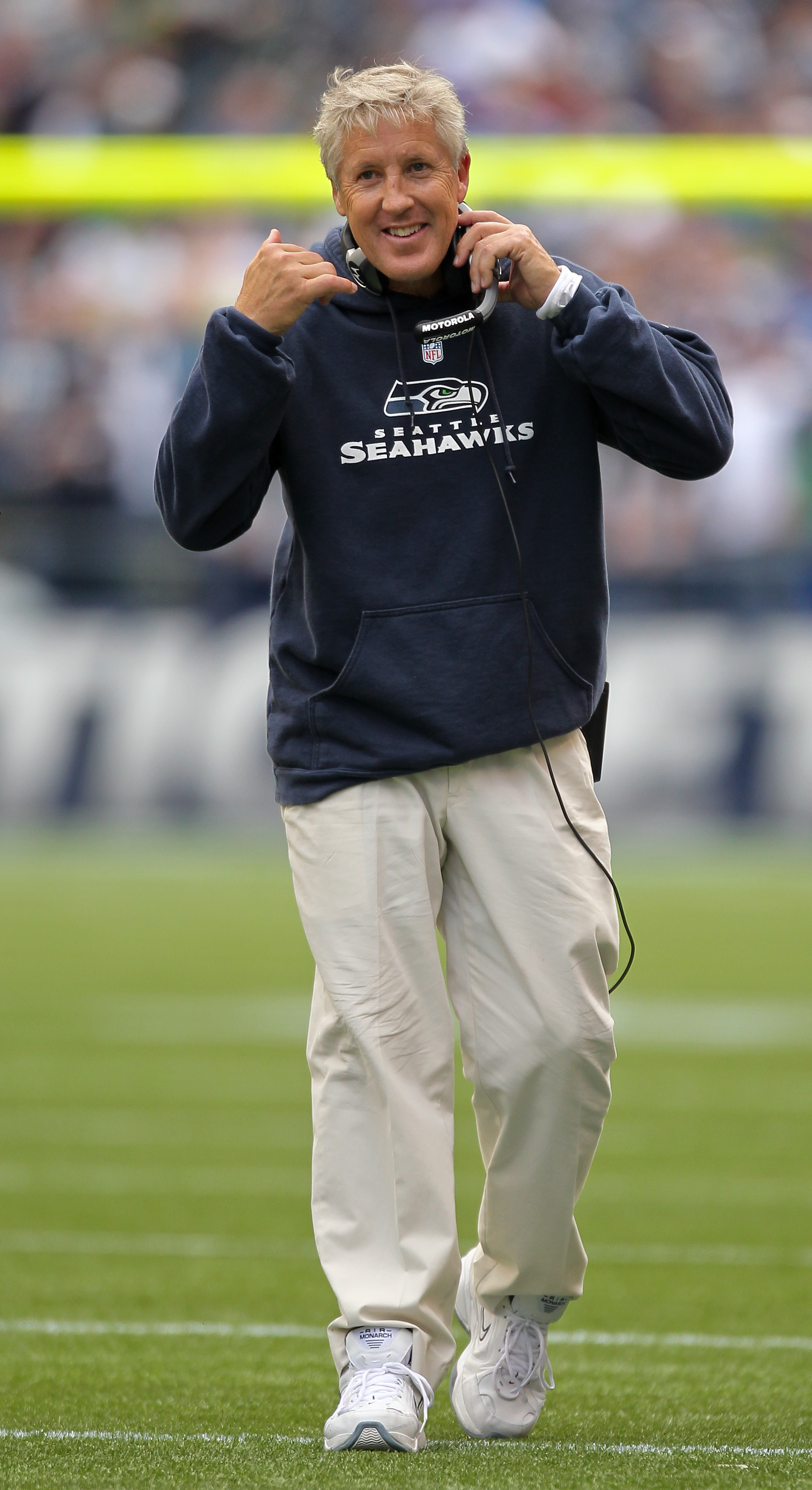 SEATTLE - SEPTEMBER 26:  Head coach Pete Carroll of the Seattle Seahawks looks on during the game against the San Diego Chargers at Qwest Field on September 26, 2010 in Seattle, Washington. (Photo by Otto Greule Jr/Getty Images)