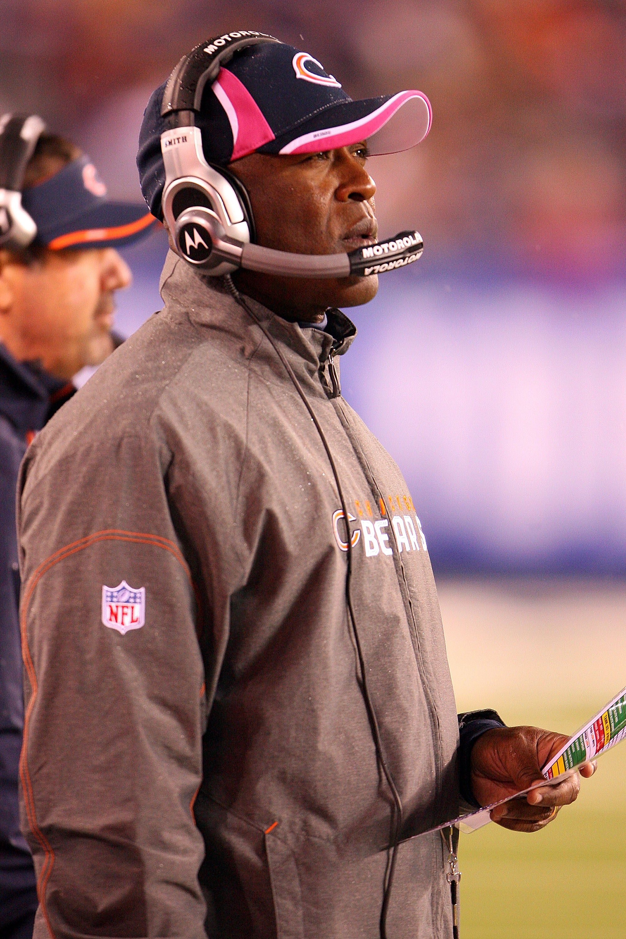 EAST RUTHERFORD, NJ - OCTOBER 03:  Head coach Lovie Smith of the Chicago Bears looks on from the sidelines against the New York Giants at New Meadowlands Stadium on October 3, 2010 in East Rutherford, New Jersey.  (Photo by Andrew Burton/Getty Images)