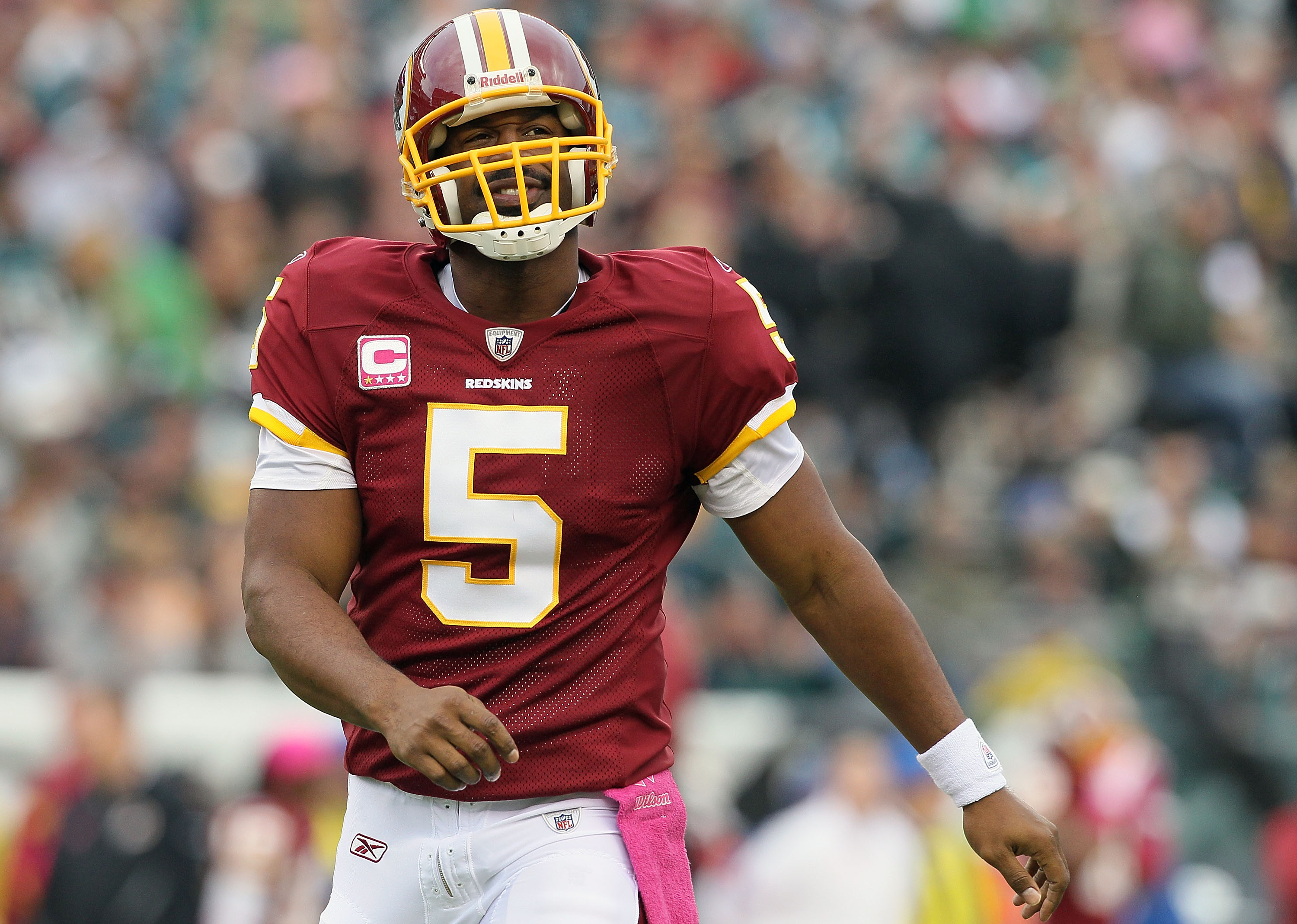 PHILADELPHIA - OCTOBER 03:  Donovan McNabb #5 of the Washington Redskins looks on against the Philadelphia Eagles on October 3, 2010 at Lincoln Financial Field in Philadelphia, Pennsylvania.  (Photo by Jim McIsaac/Getty Images)