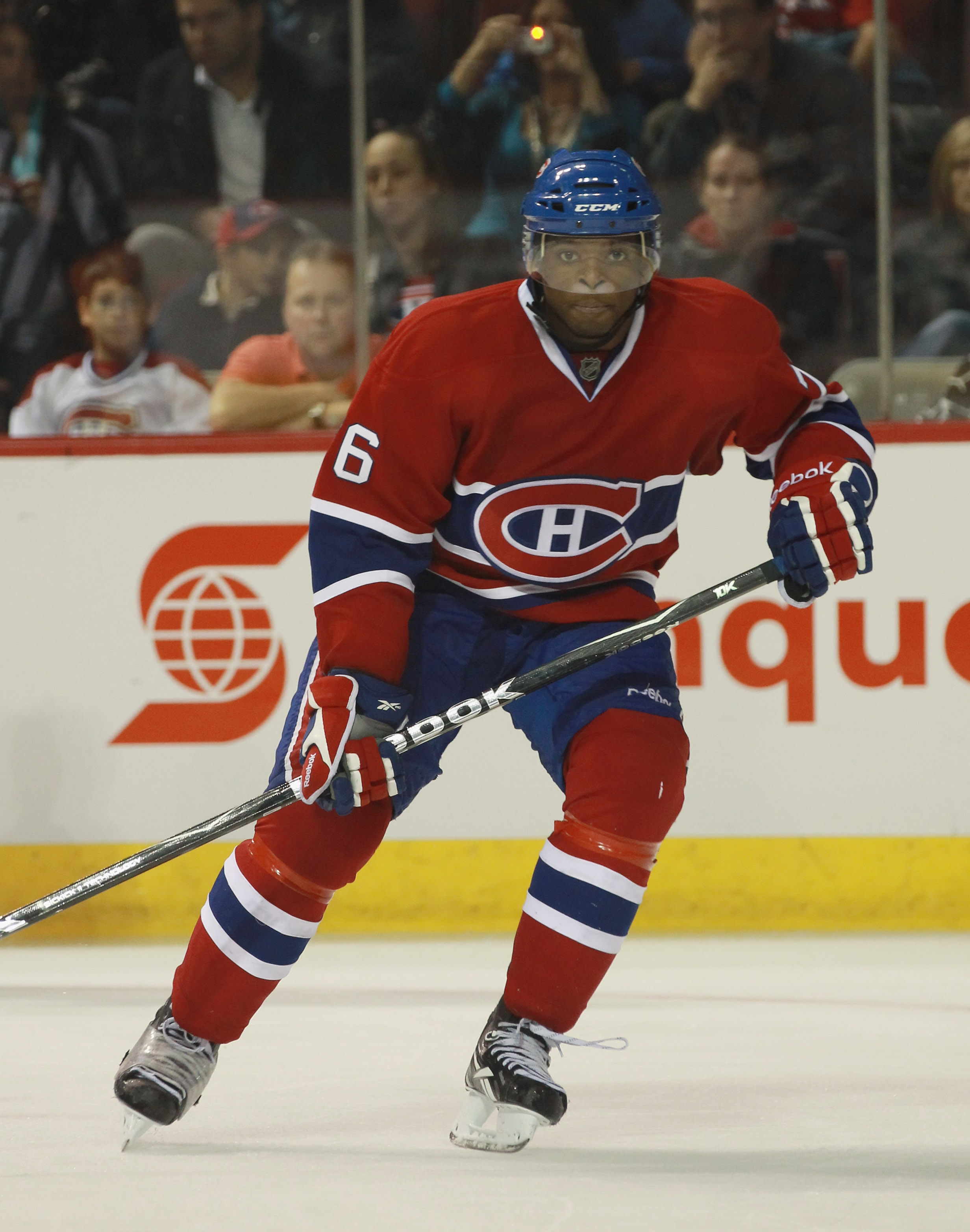 MONTREAL, QC - SEPTEMBER 24:  P.K. Subban #76 of the Montreal Canadiens skates against the Ottawa Senators at the Bell Centre on September 24, 2010 in Montreal, Canada. The Canadiens defeated the Senators 4-2.  (Photo by Bruce Bennett/Getty Images)