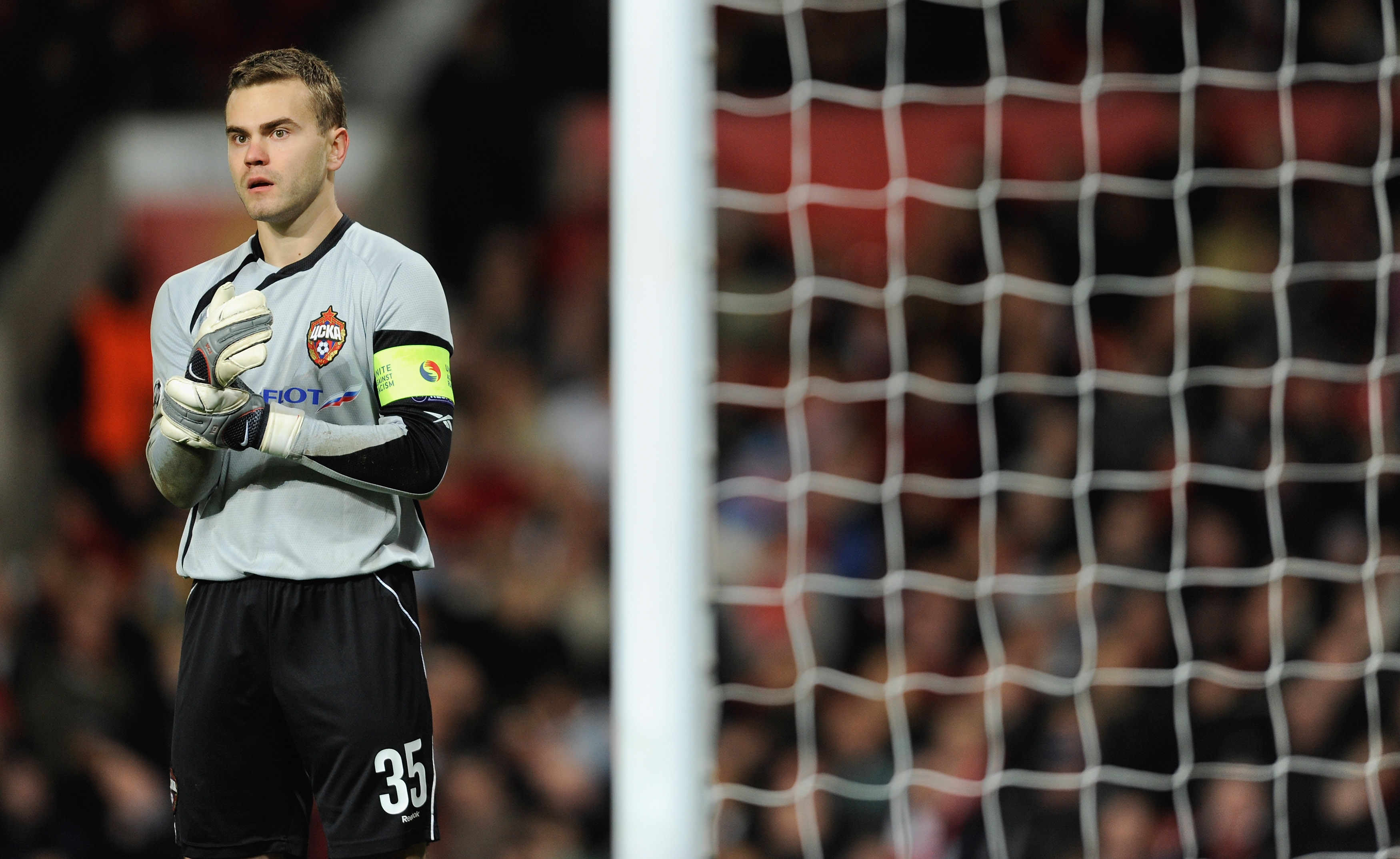 MANCHESTER, ENGLAND - NOVEMBER 03:  Igor Akinfeev of CSKA Moscow looks on during the UEFA Champions League Group B match between Manchester United and CSKA Moscow at Old Trafford on November 3, 2009 in Manchester, England.  (Photo by Michael Regan/Getty I