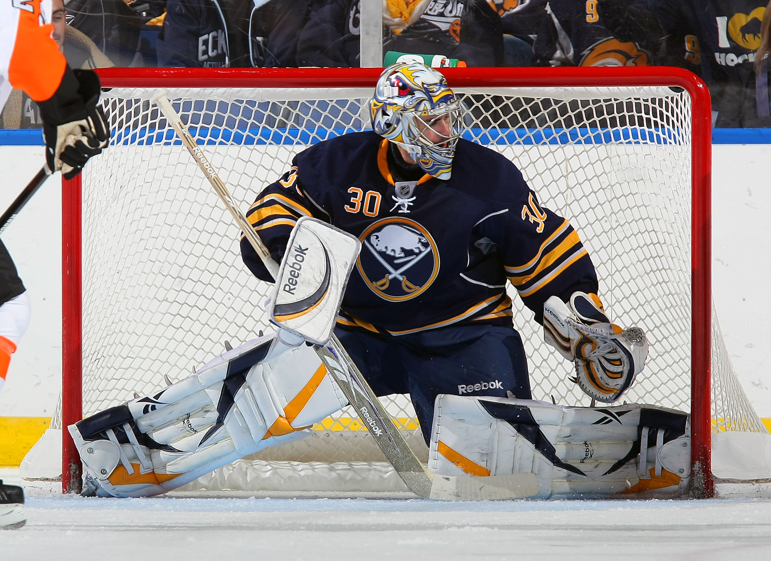 BUFFALO - OCTOBER 3:  Ryan Miller #30 of the Buffalo Sabres keeps his eyes on play against the Philadelphia Flyers during their NHL game at HSBC Arena October 3, 2010 in Buffalo, New York. The Sabres won 9-3. (Photo By Dave Sandford/Getty Images)