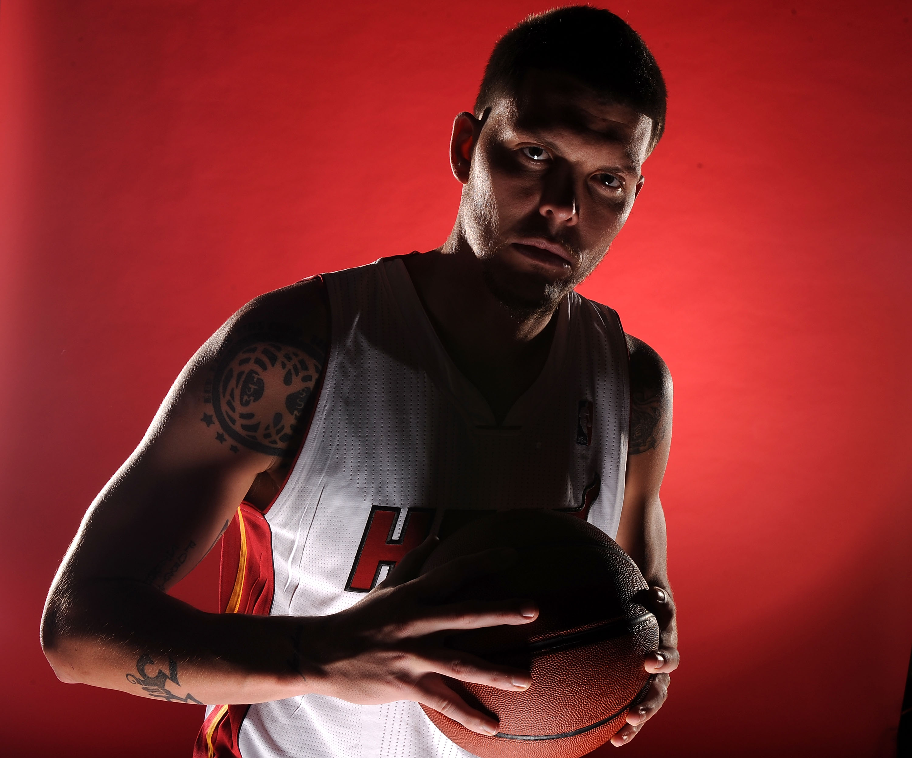 MIAMI - SEPTEMBER 27:  Mike Miller #13 of the Miami Heat pose for photos during media day at the Bank United Center on September 27, 2010 in Miami, Florida. NOTE TO USER: User expressly acknowledges and agrees that, by downloading and/or using this Photog