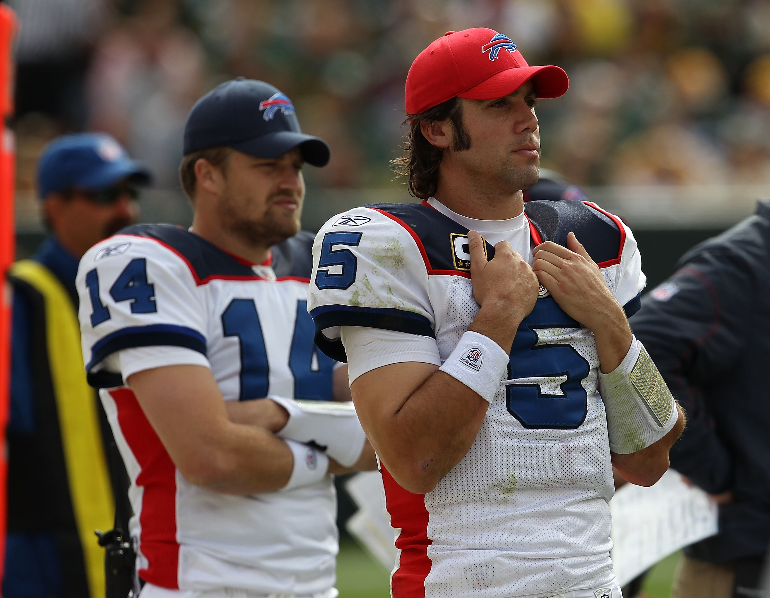 GREEN BAY, WI - SEPTEMBER 19: Ryan Fitzpatrick #14 and Trent Edwards #5 of the Buffalo Bills watch from the sidelines during a game against the Green Bay Packer at Lambeau Field on September 19, 2010 in Green Bay, Wisconsin. The Packers defeated the Bills